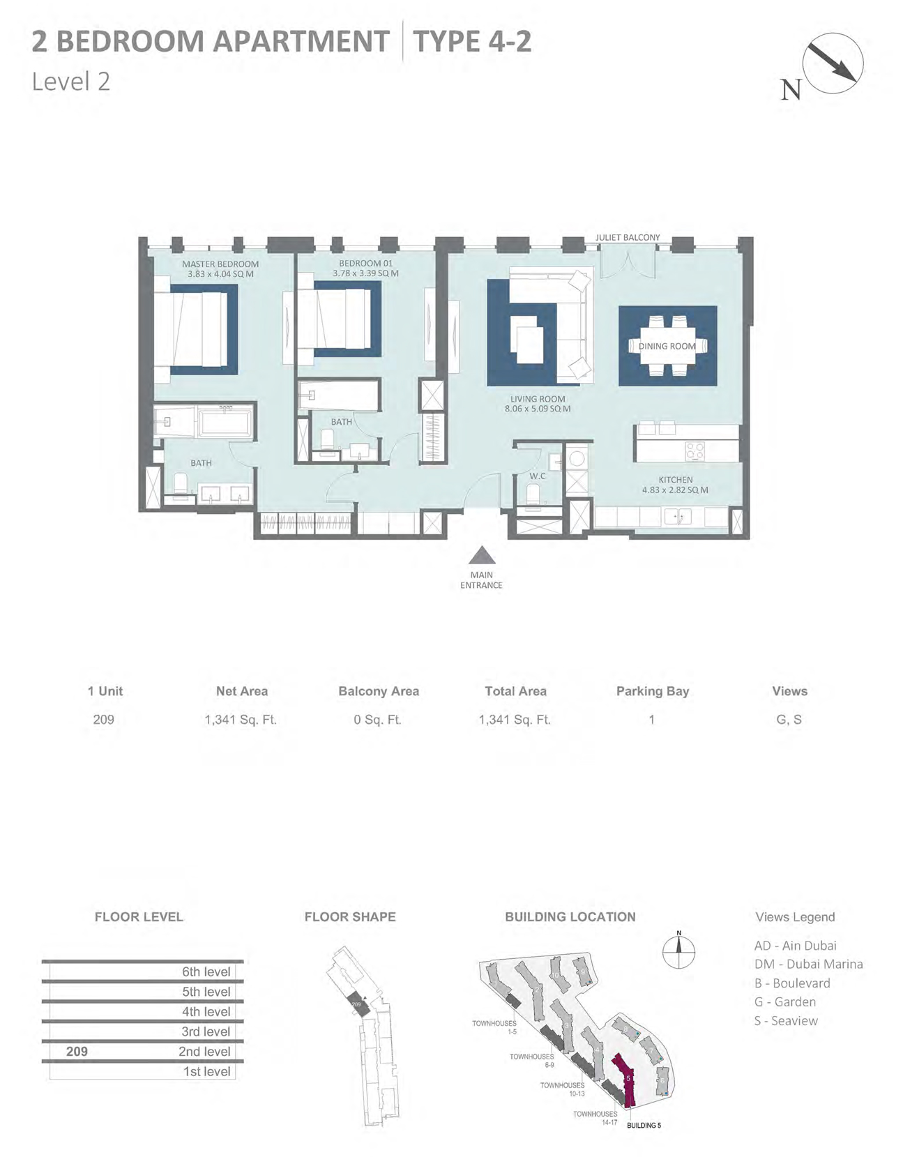 Building 5 - 2 Bedroom Type 4-2 Level 2 , Size 1341    sq. ft.