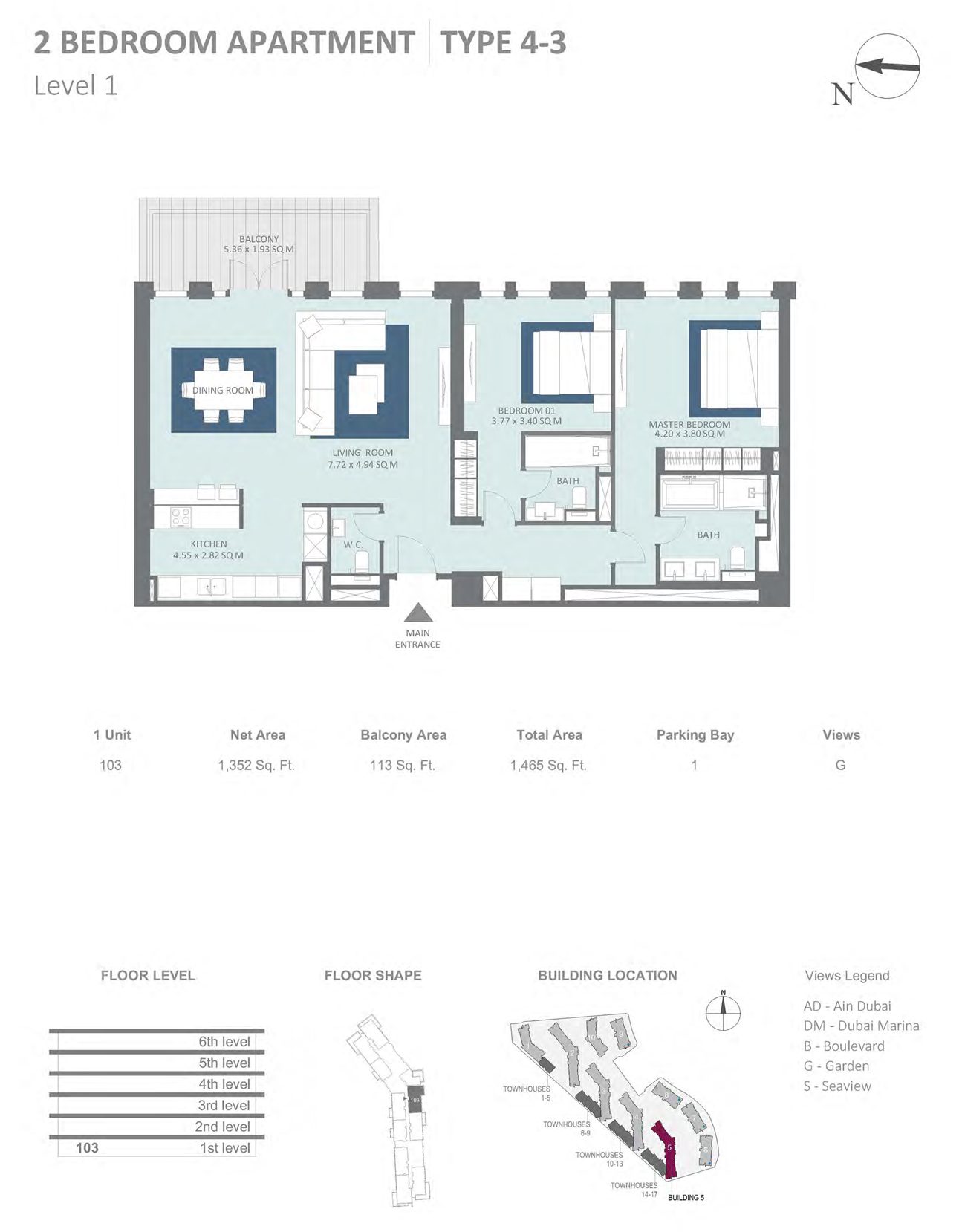 Building 5 - 2 Bedroom Type 4-3 Level 1 , Size 1352    sq. ft.