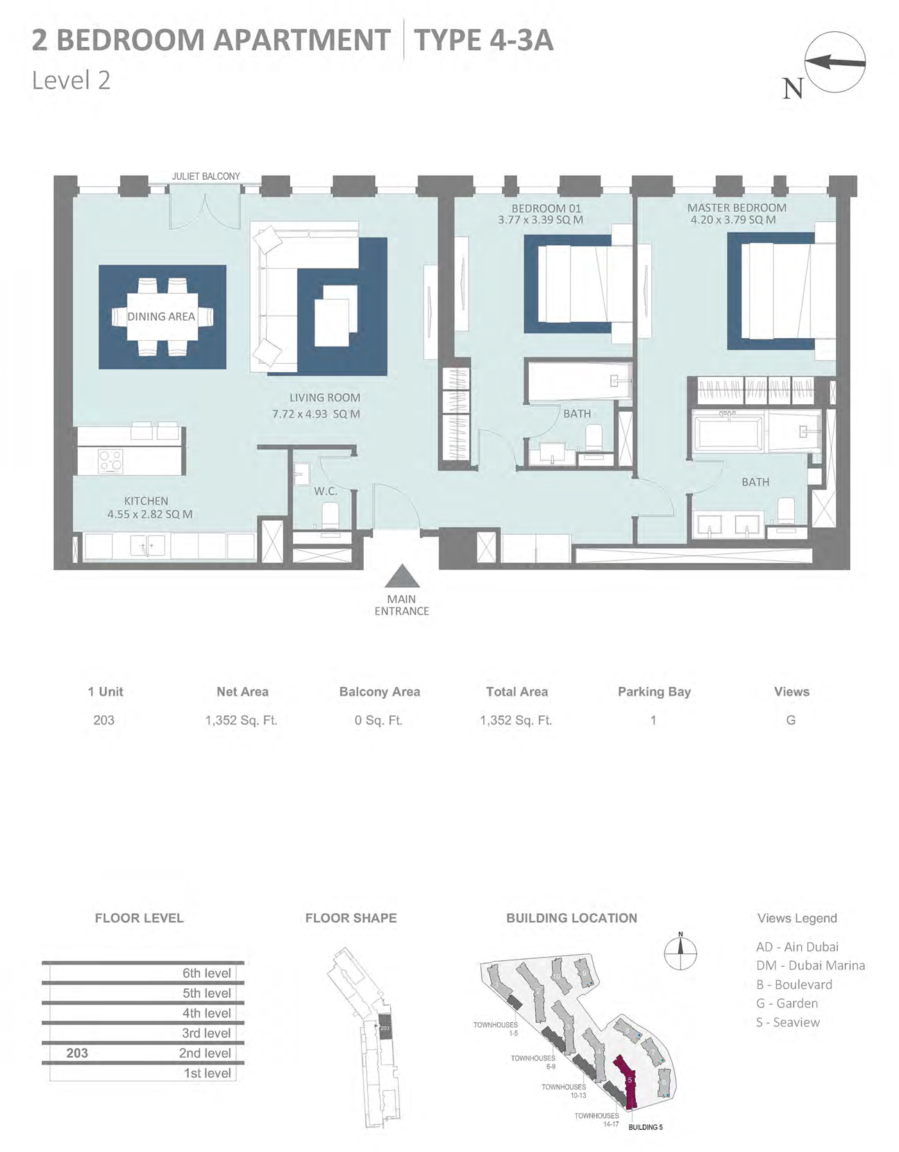 Building 5 - 2 Bedroom Type 4-3A Level 2 , Size 1352    sq. ft.