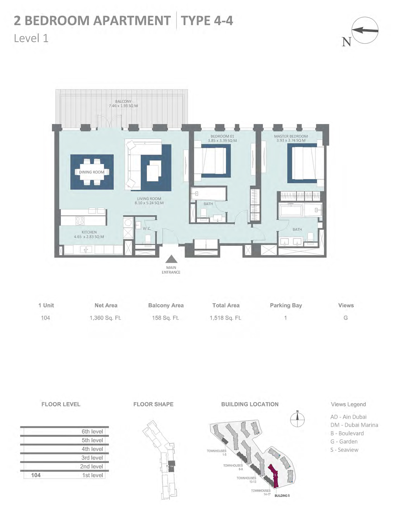 Building 5 - 2 Bedroom Type 4-4 Level 1 , Size 1360    sq. ft.