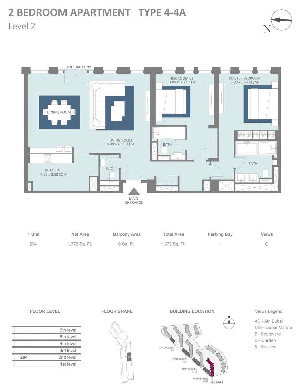 Building 5 - 2 Bedroom Type 4-4A Level 2 , Size 1372    sq. ft.