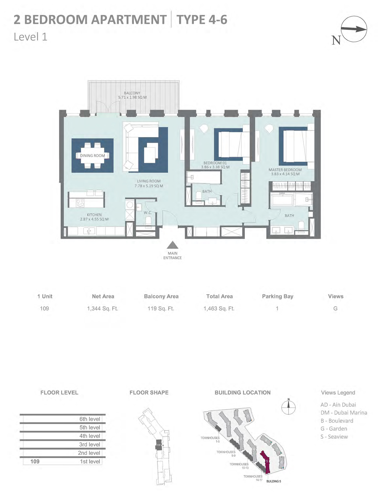 Building 5 - 2 Bedroom Type 4-6 Level 1 , Size 1344    sq. ft.
