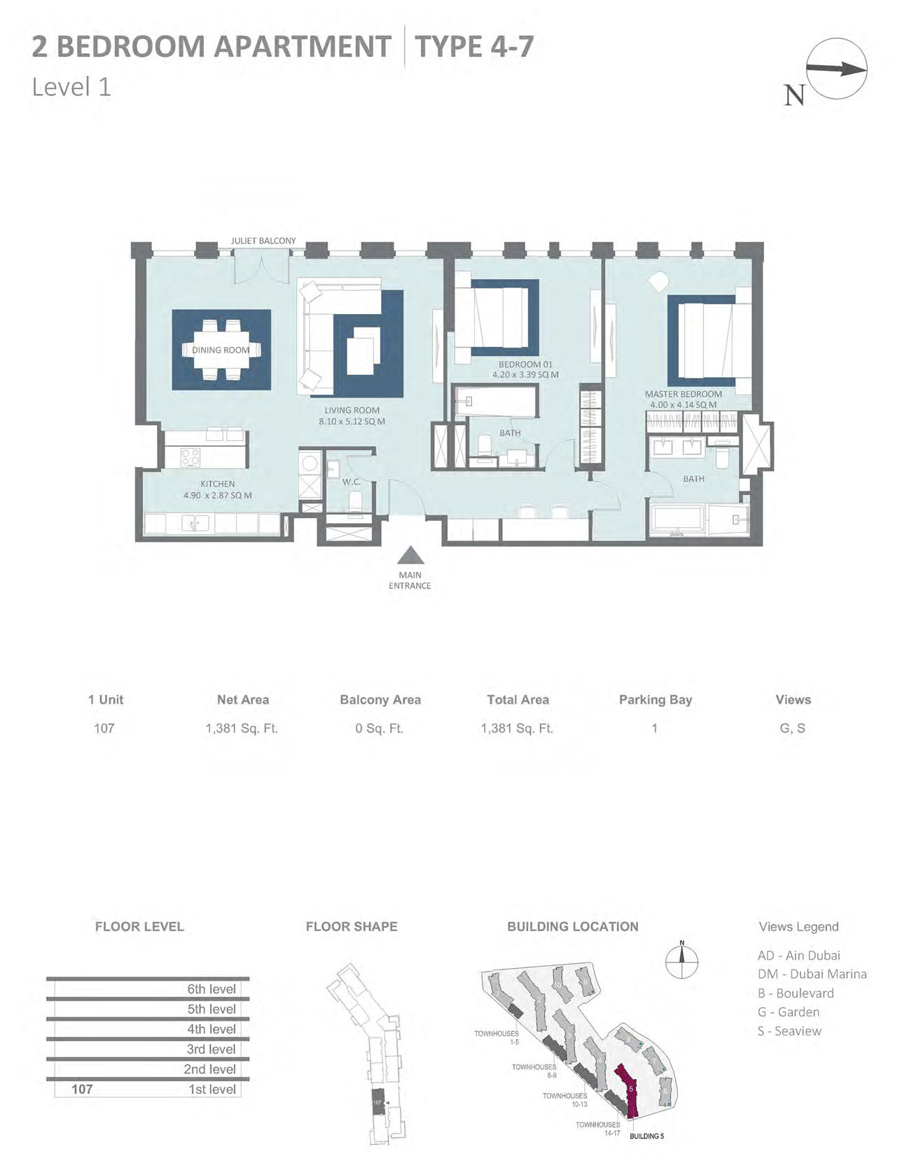 Building 5 - 2 Bedroom Type 4-7 Level 1 , Size 1381    sq. ft.