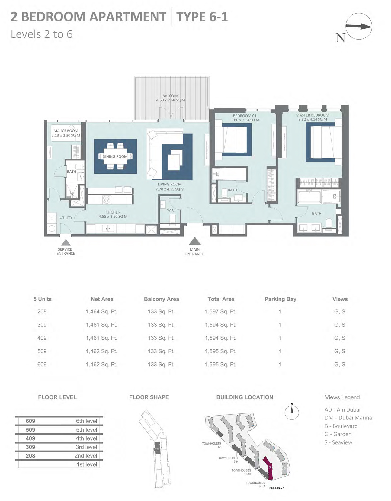 Building 5 - 2 Bedroom Type 6-1 Level 2-6 , Size 1597    sq. ft.