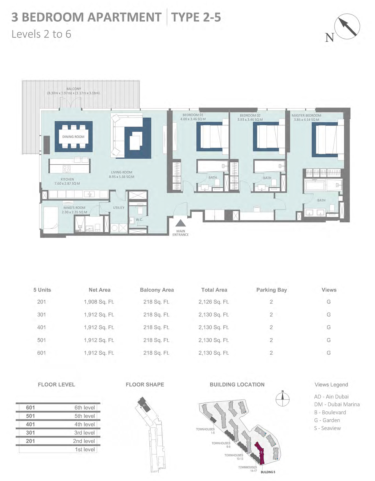 Building 5 - 3 Bedroom Type 2-5 Level 2-6 , Size 2130    sq. ft.