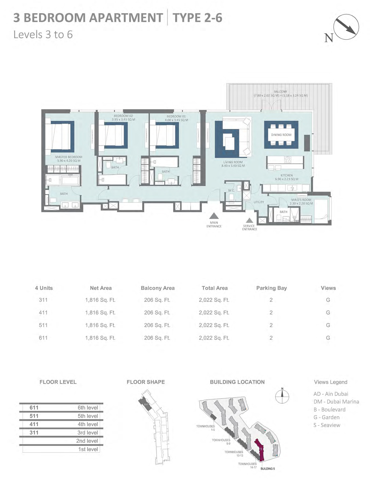 Building 5 - 3 Bedroom Type 2-6 Level 3-6 , Size 2022    sq. ft.