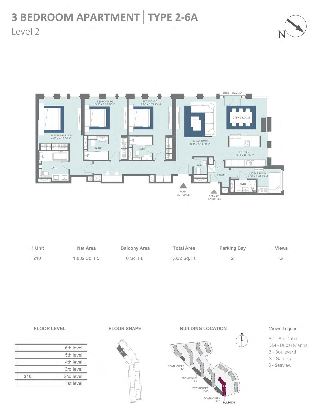 Building 5 - 3 Bedroom Type 2-6A Level 2 , Size 1832    sq. ft.