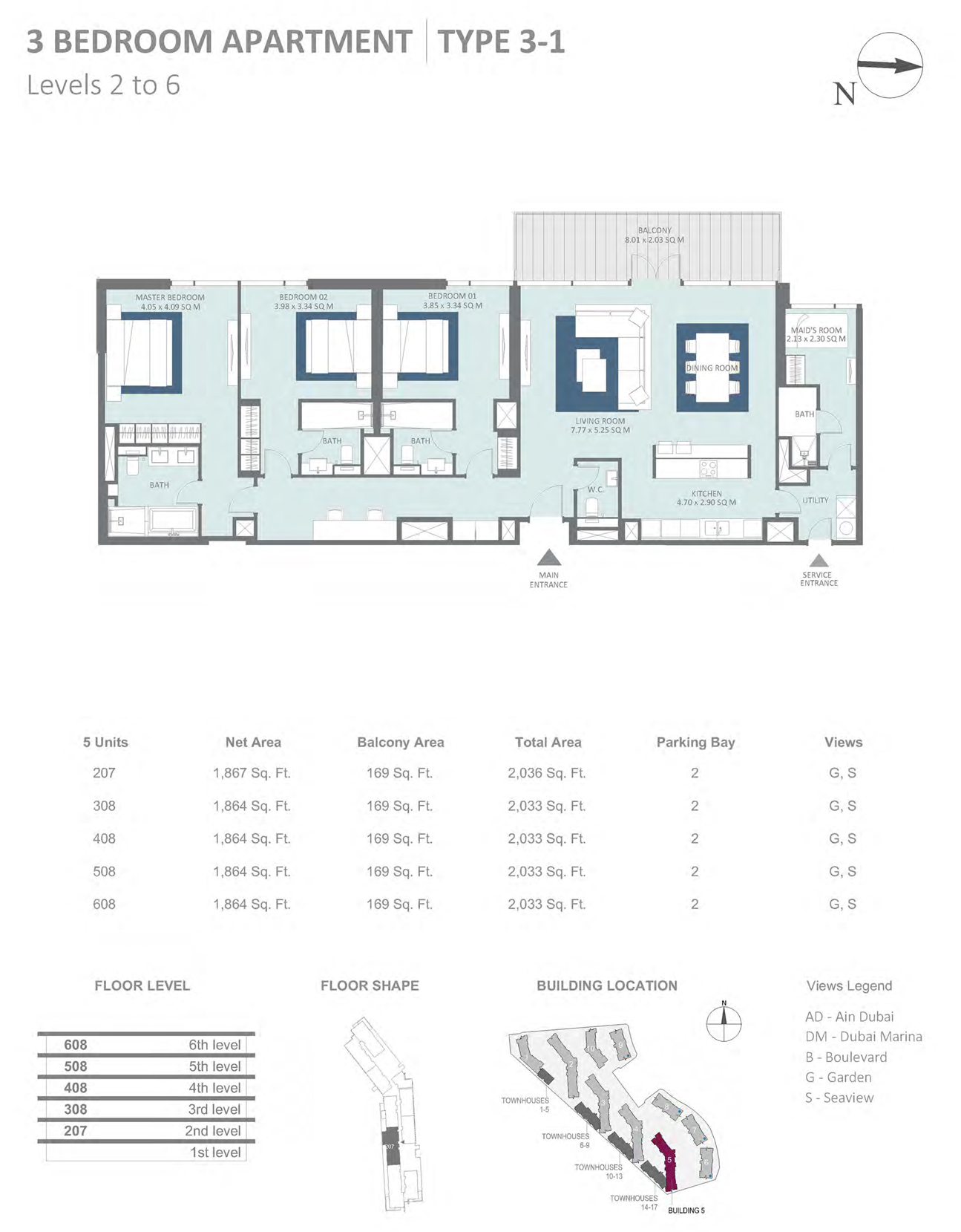 Building 5 - 3 Bedroom Type 3-1 Level 2-6 , Size 2036    sq. ft.