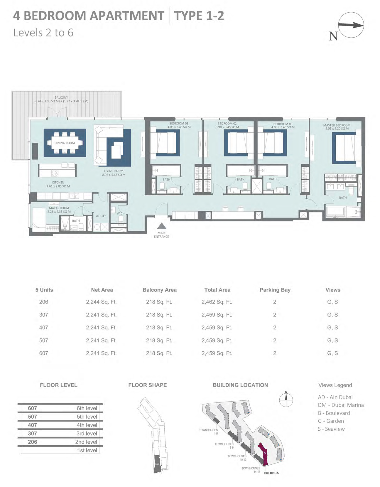 Building 5 - 4 Bedroom Type 1-2 Level 2-6 , Size 2462    sq. ft.