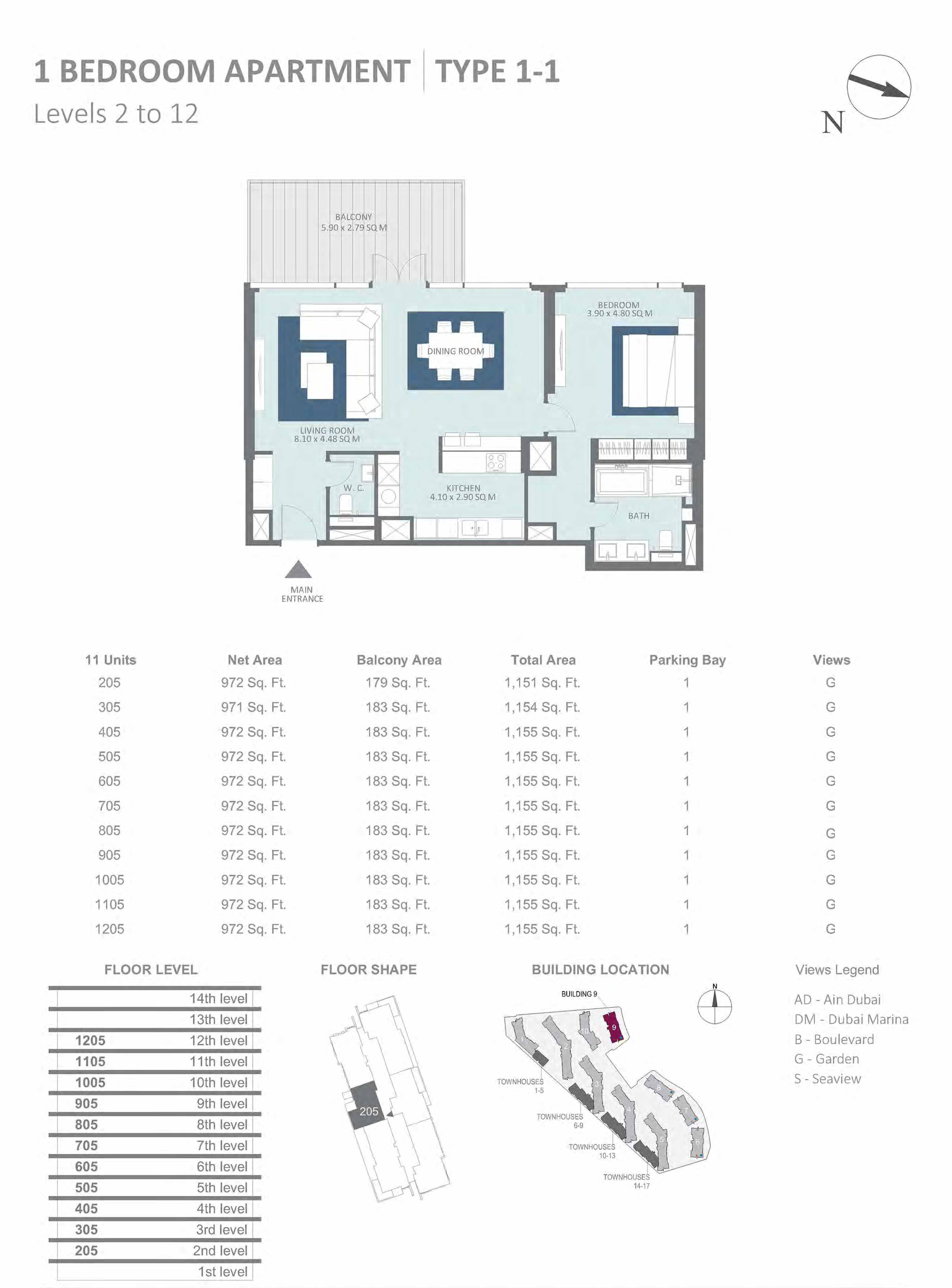 Building 9 - 1 Bedroom Type 1-1, Level 2 to 12 Size 1151 to 1155  sq. ft.