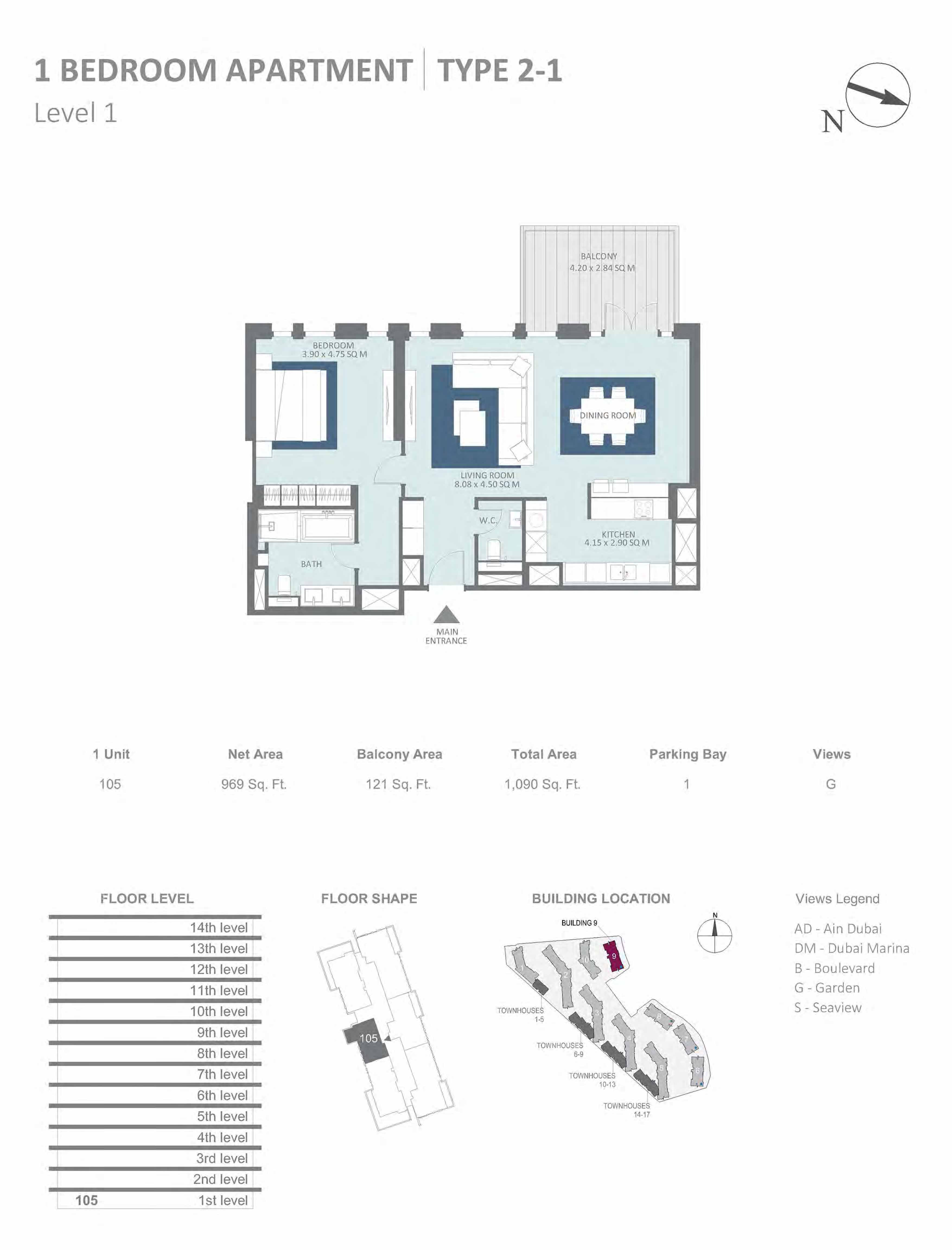 Building 9 - 1 Bedroom Type 2-1, Level 1 Size 1090  sq. ft.