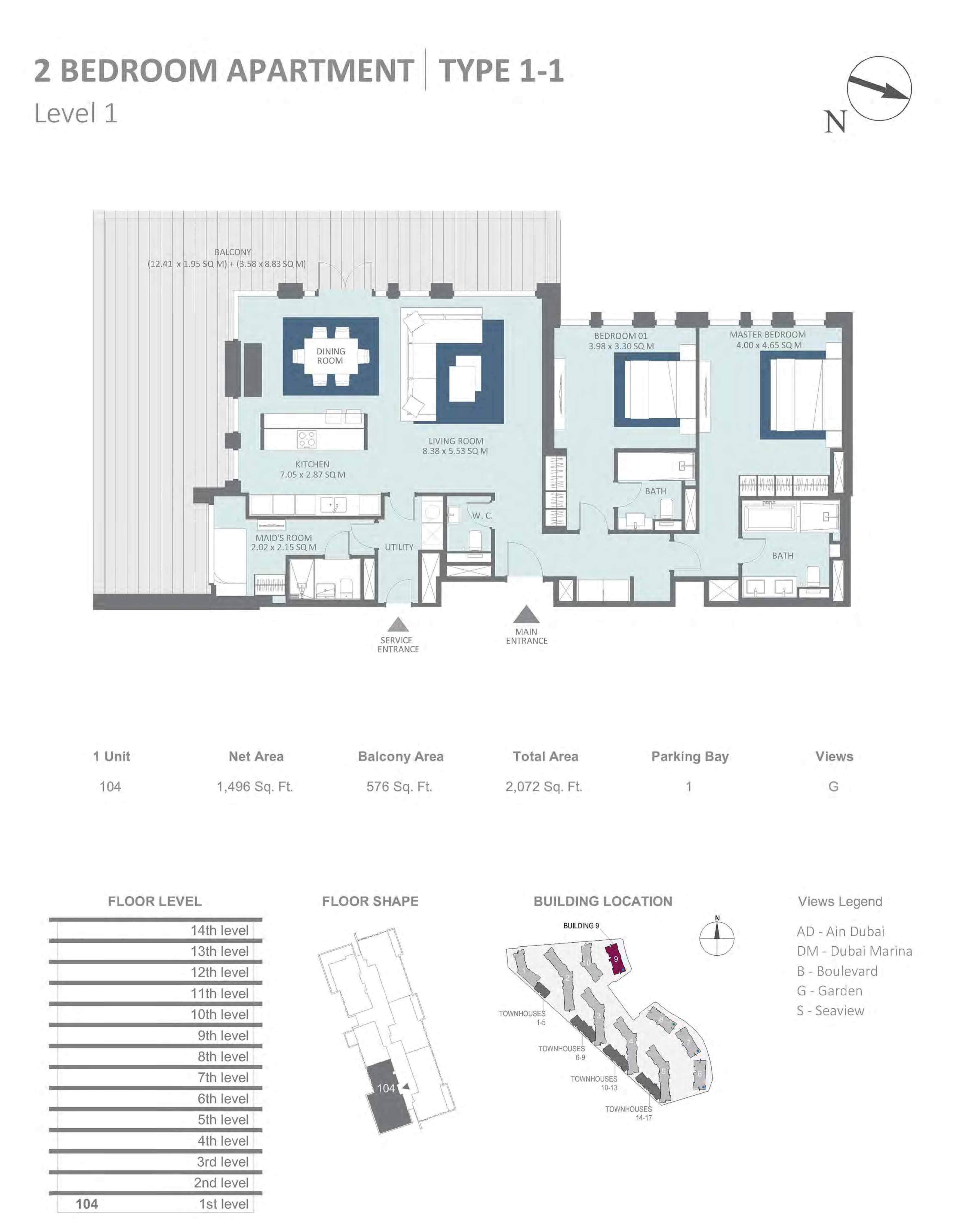 Building 9 - 2 Bedroom Type 1-1, Level 1 Size 2072  sq. ft.