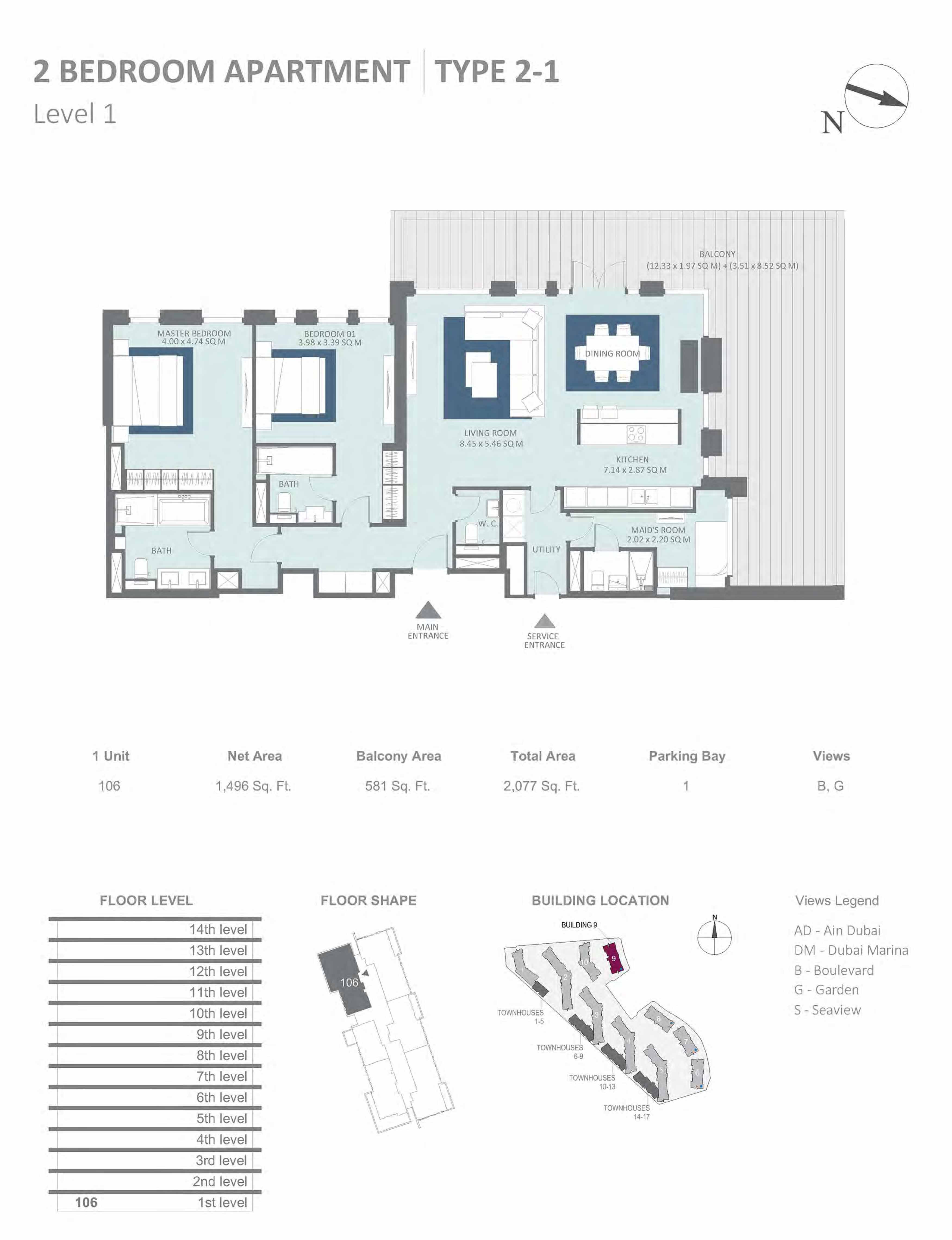 Building 9 - 2 Bedroom Type 2-1, Level 1 Size 2077  sq. ft.