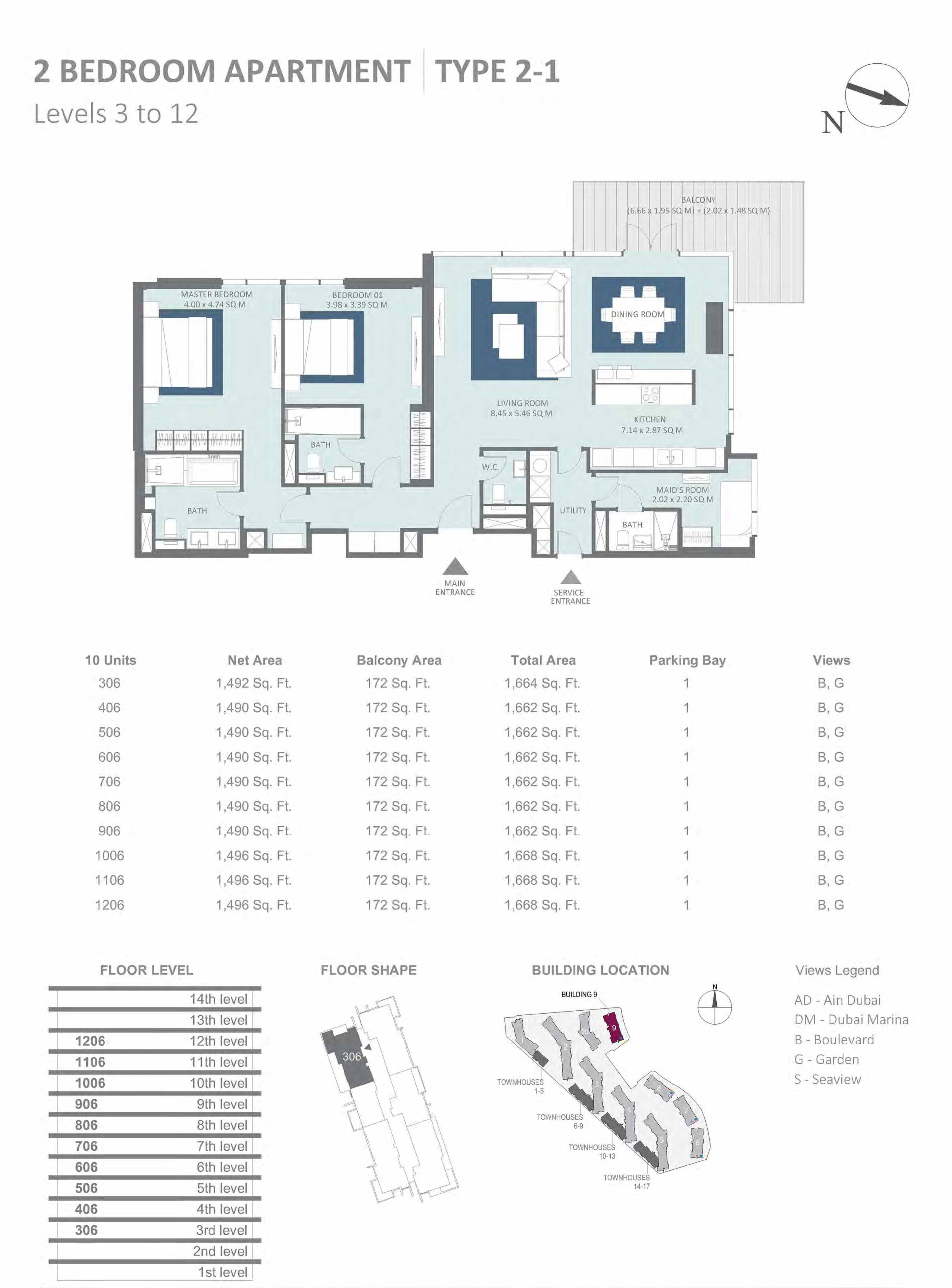 Building 9 - 2 Bedroom Type 2-1, Level 3 to 12 Size 1662 to 1668  sq. ft.