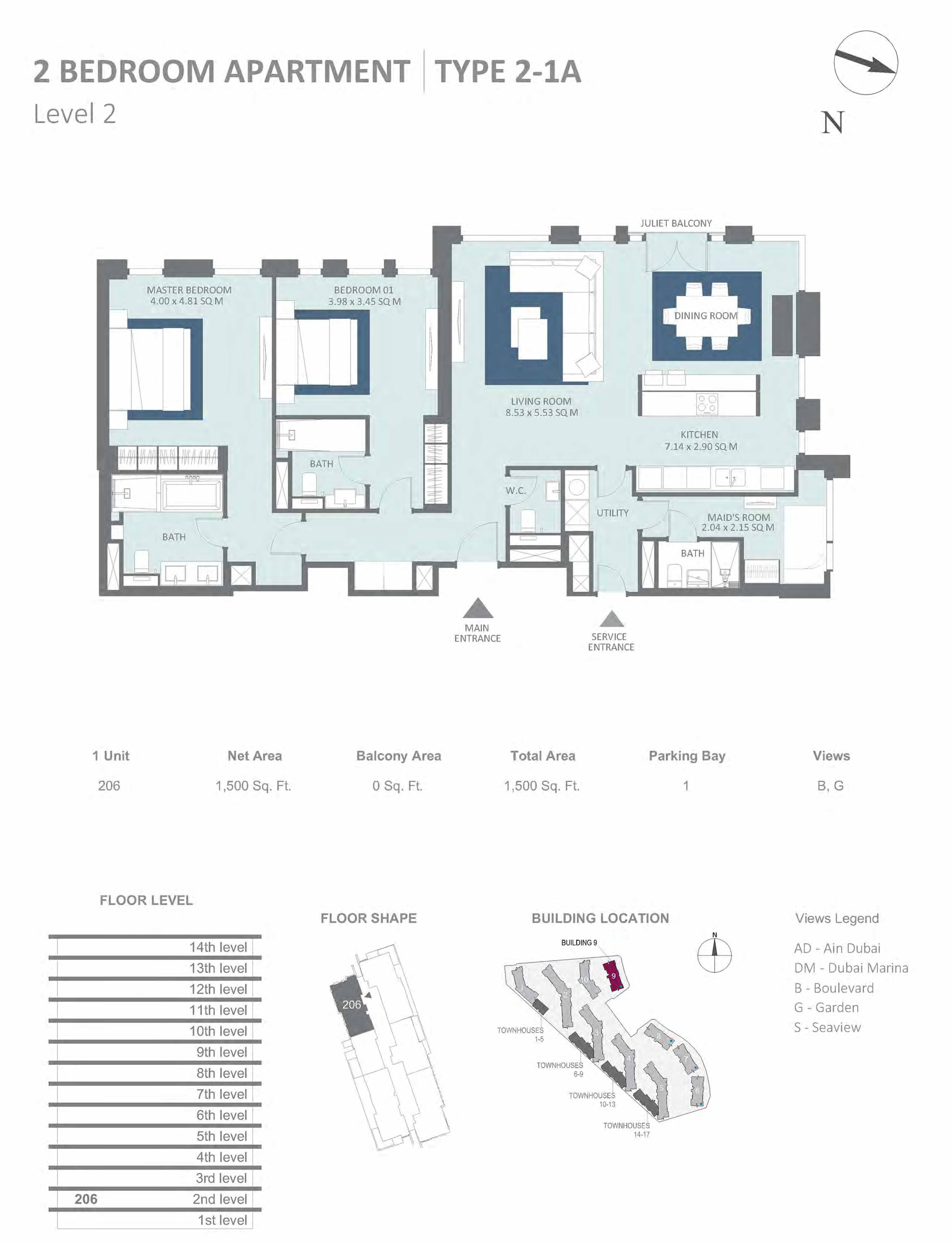 Building 9 - 2 Bedroom Type 2-1A, Level 2 Size 1500  sq. ft.