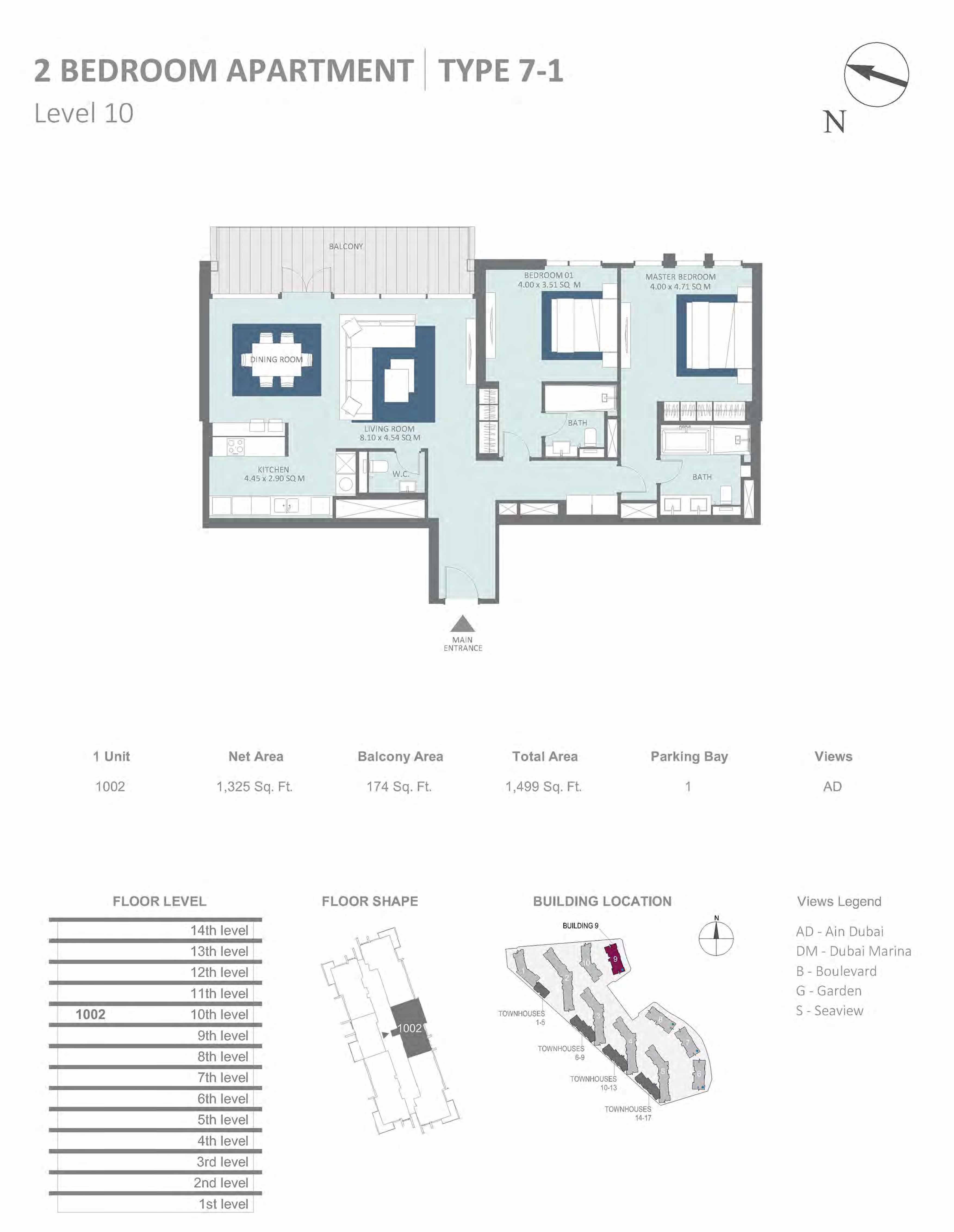 Building 9 - 2 Bedroom Type 7-1, Level 10 Size 1499  sq. ft.