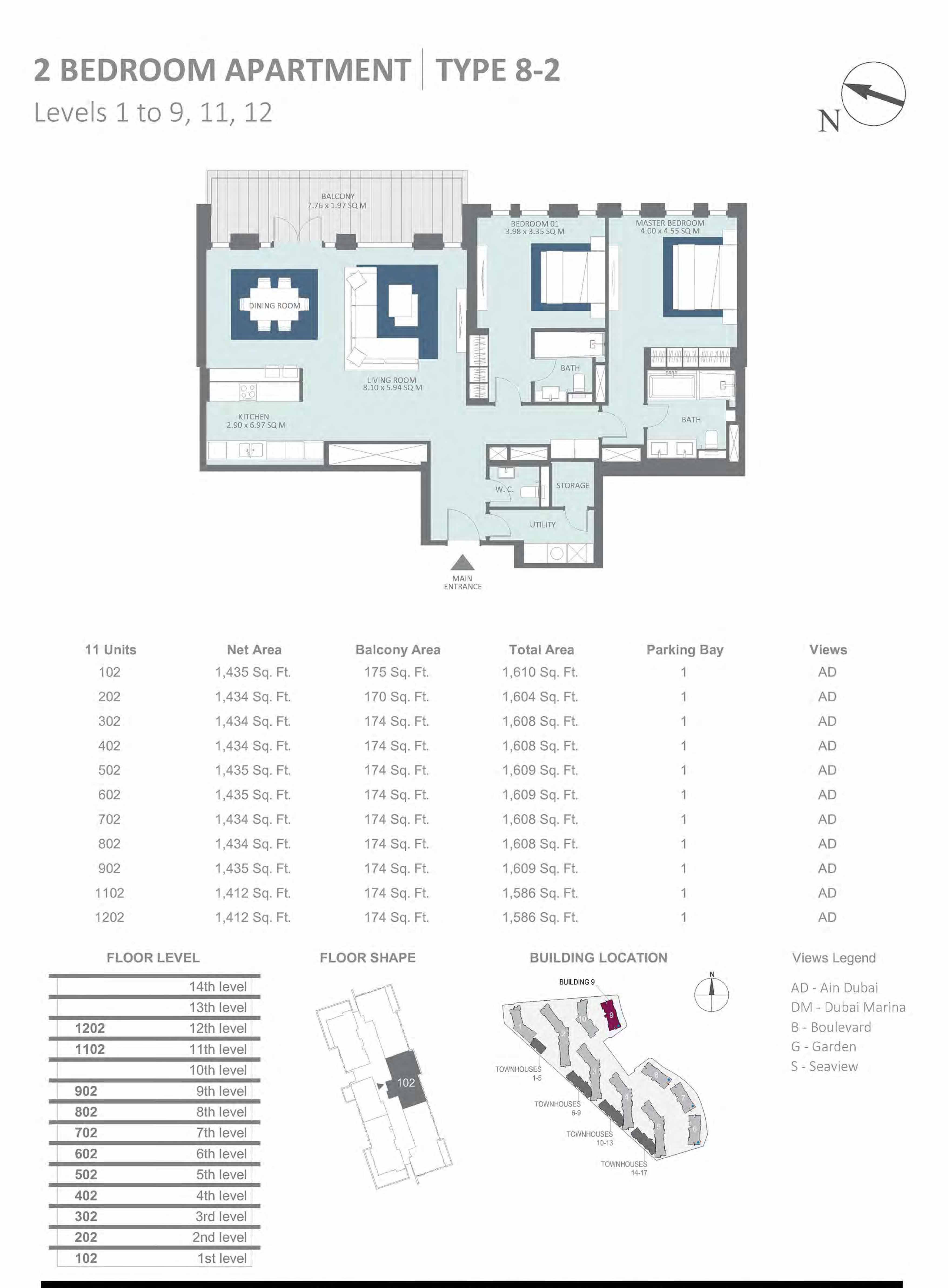 Building 9 - 2 Bedroom Type 8-2, Level 1-to-9 Size 1586 to 1610  sq. ft.