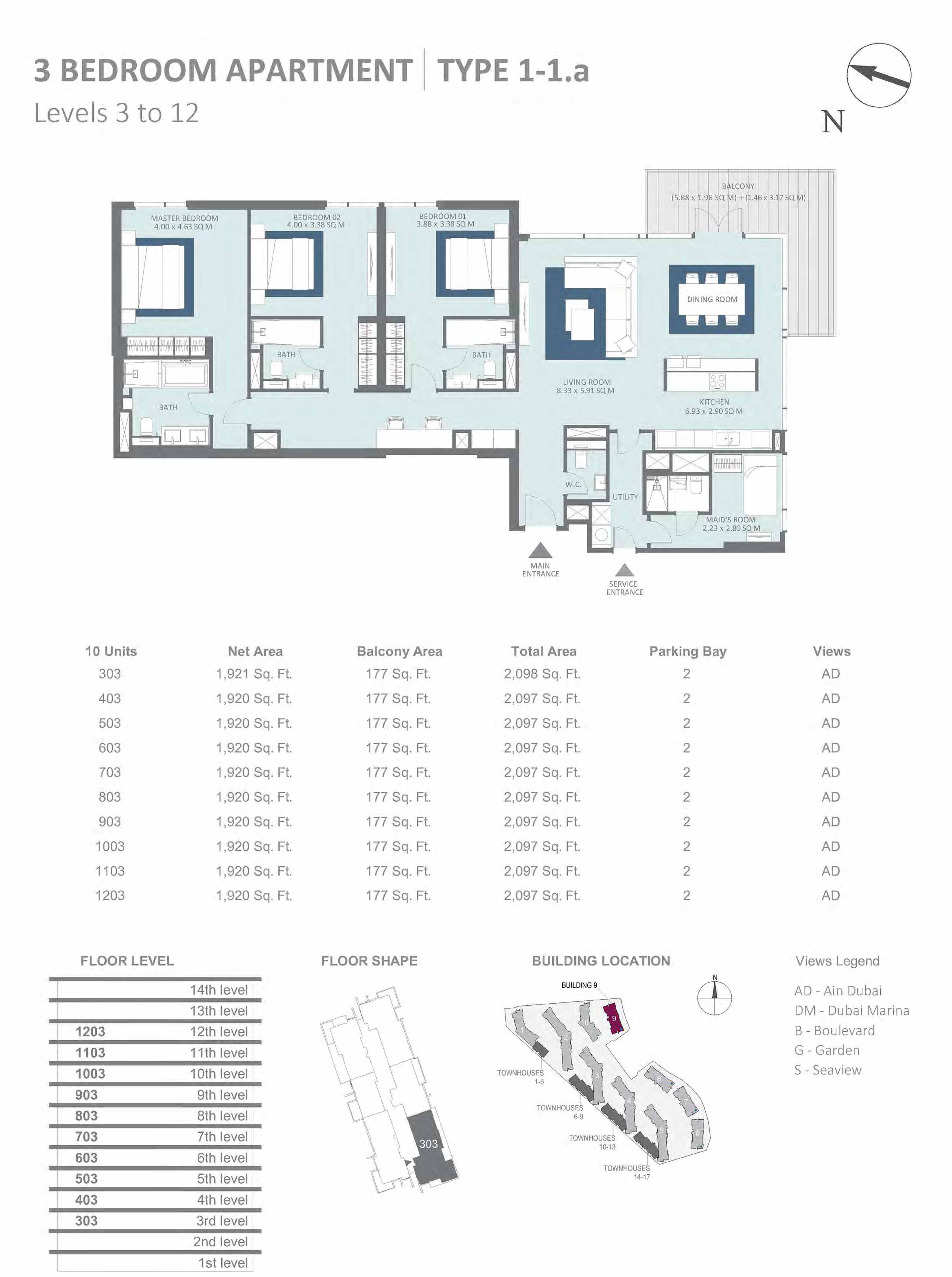 Building 9 - 3 Bedroom Type 1-1A, Level 3-to-12 Size 2097 to 2098  sq. ft.