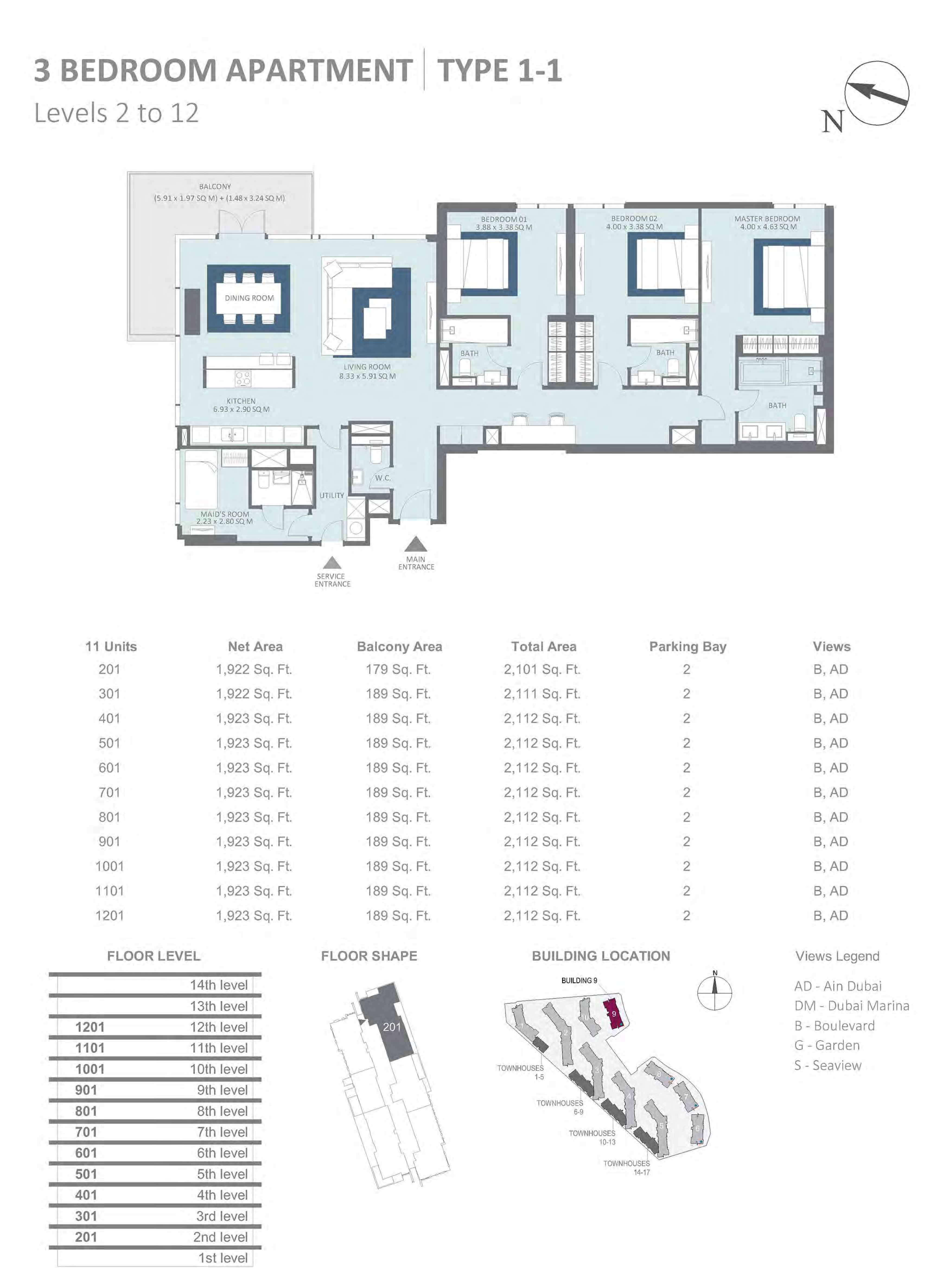 Building 9 - 3 Bedroom Type 1-1, Level 2-to-12 Size 2101 to 2112  sq. ft.