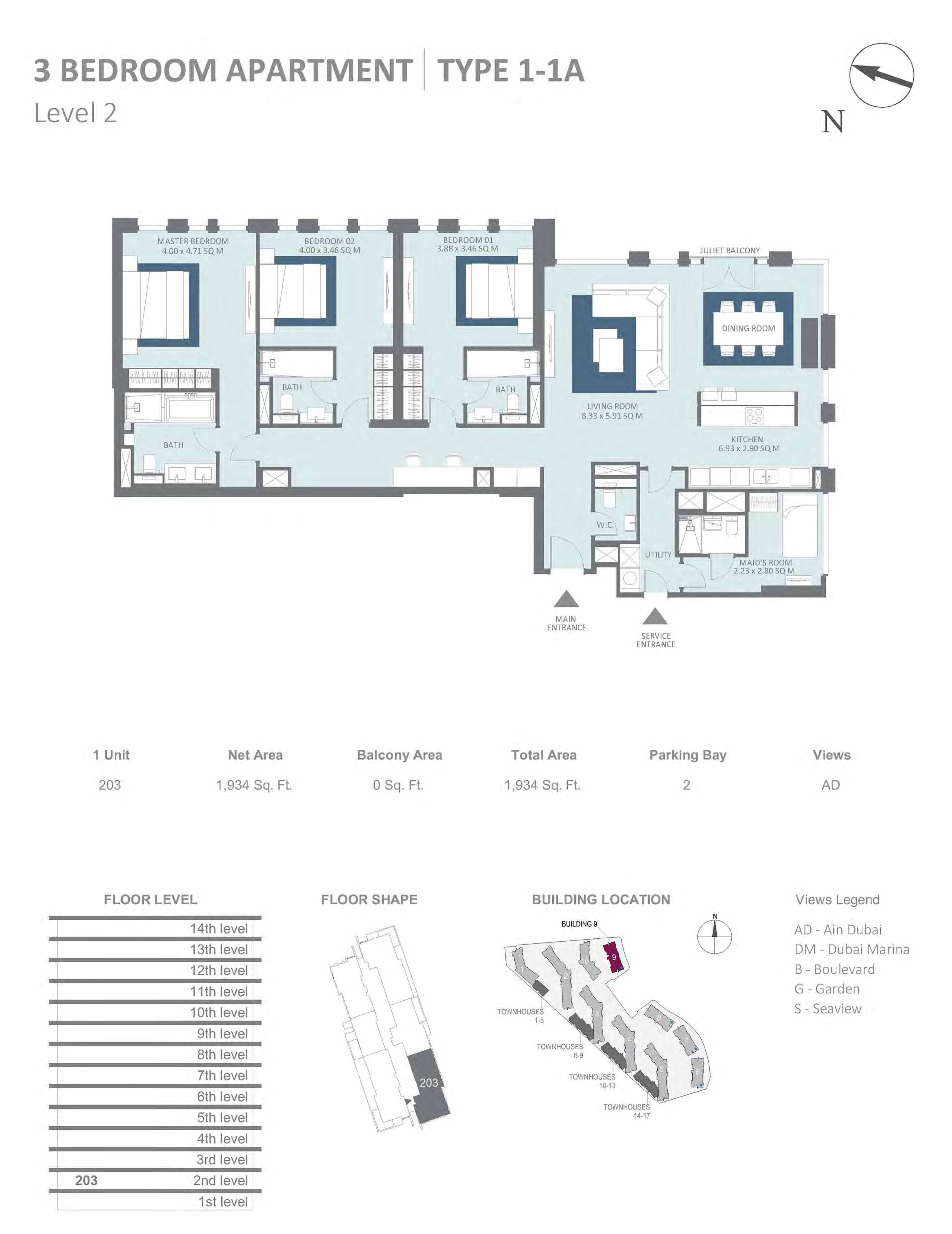Building 9 - 3 Bedroom Type 1-1A, Level 2 Size 1934  sq. ft.