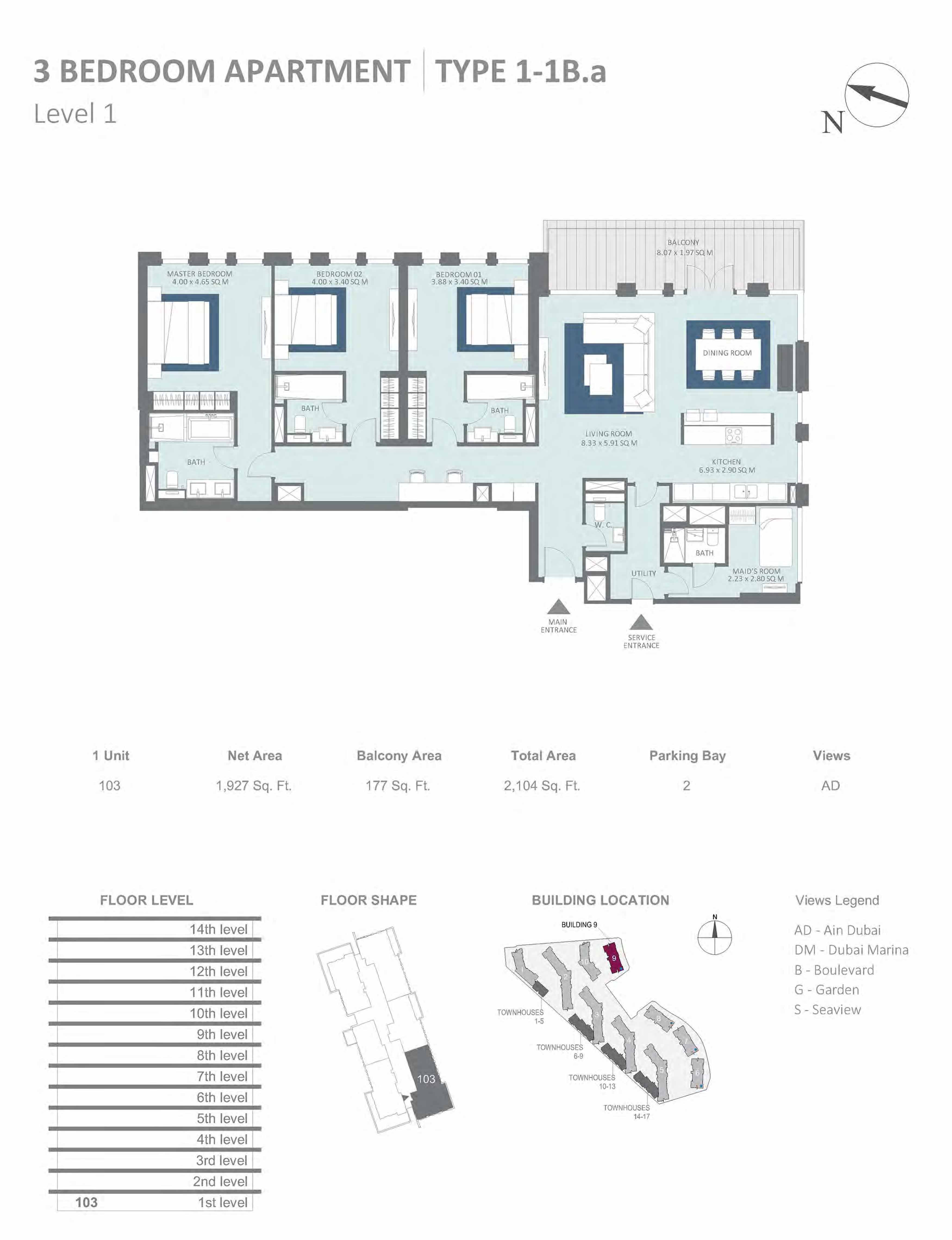 Building 9 - 3 Bedroom Type 1-1B.A, Level 1 Size 2104  sq. ft.