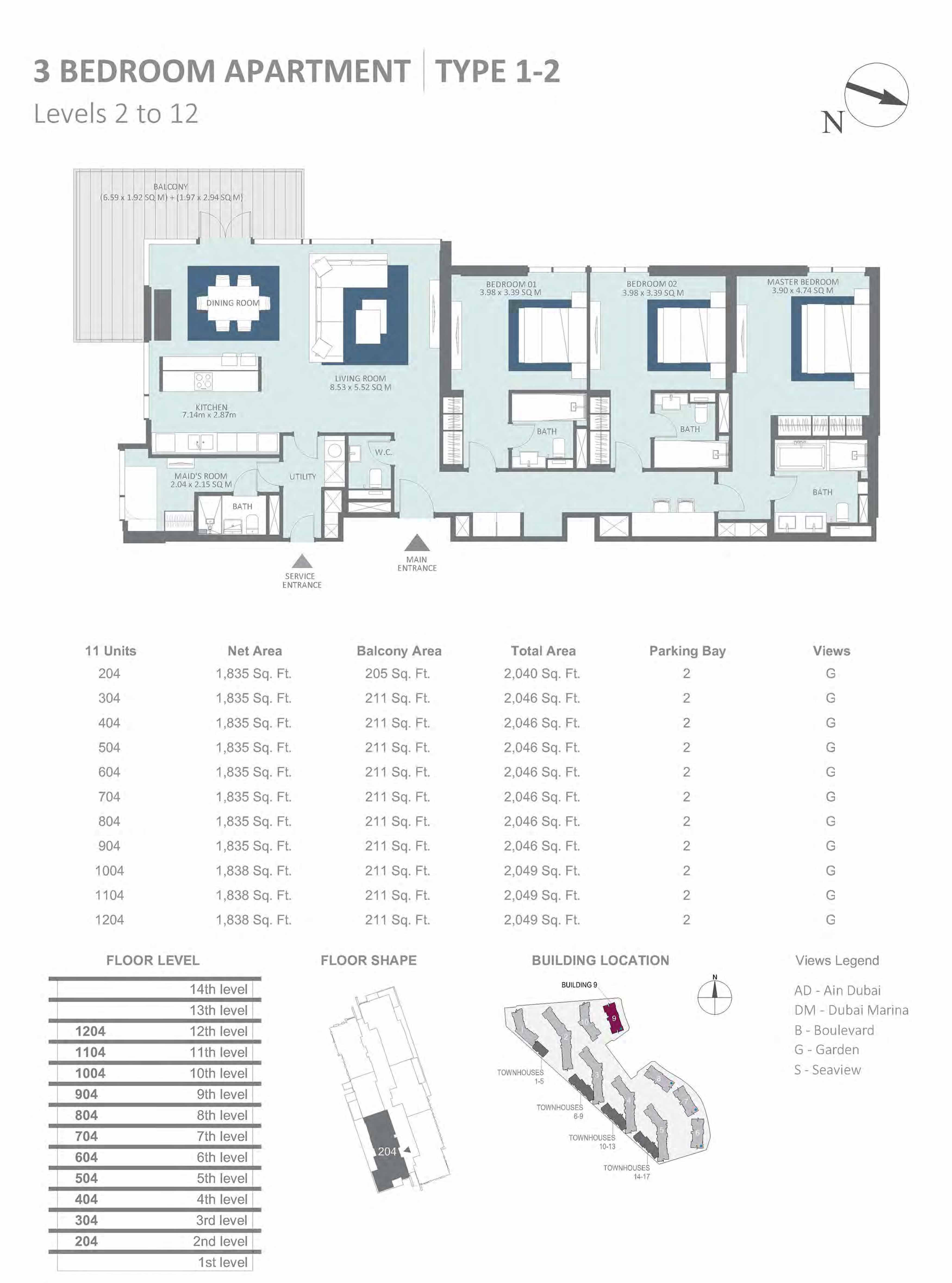 Building 9 - 3 Bedroom Type 1-2, Level 2-to-12 Size 2040 to 2049  sq. ft.