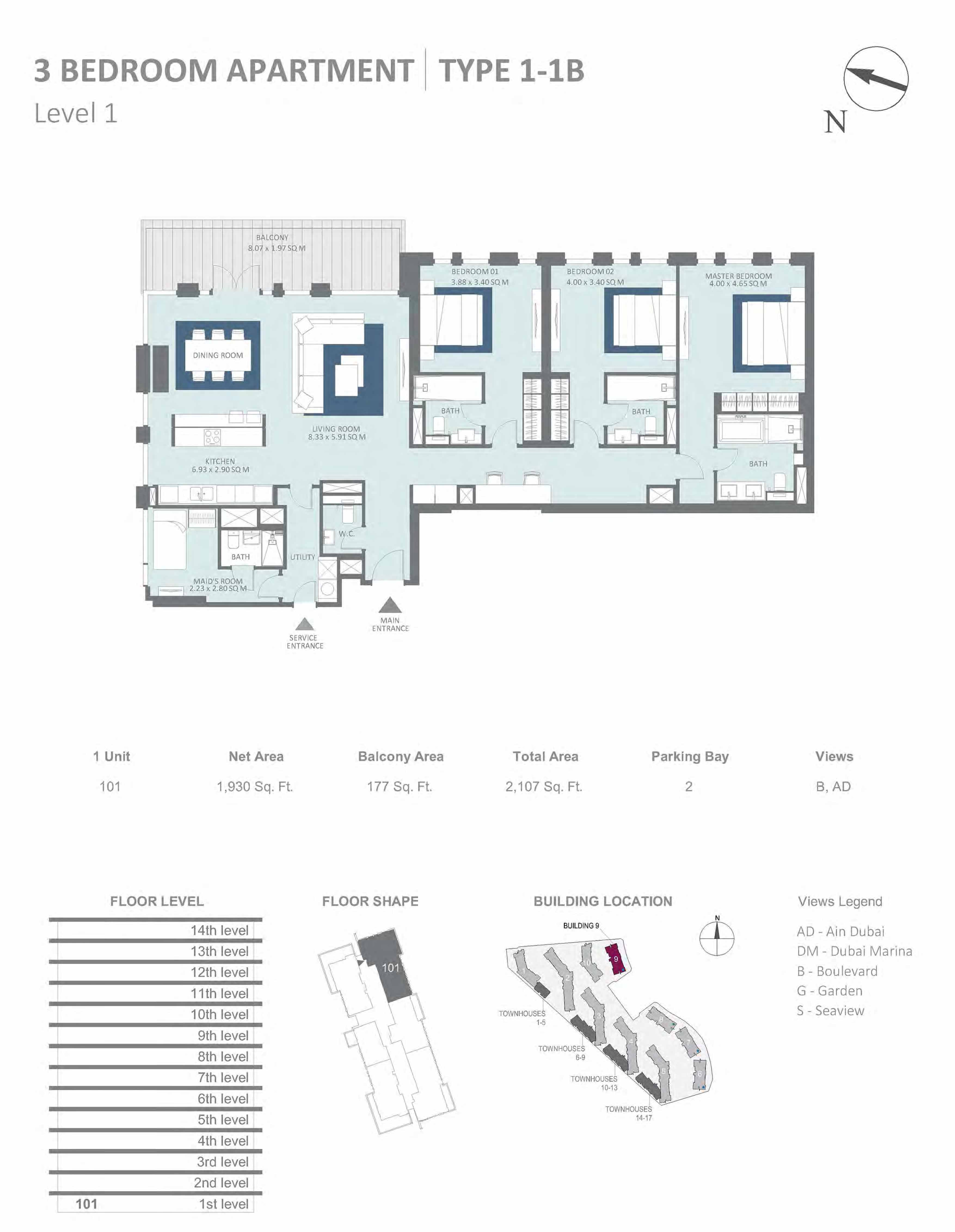 Building 9 - 3 Bedroom Type 1-1B, Level 1 Size 2107  sq. ft.