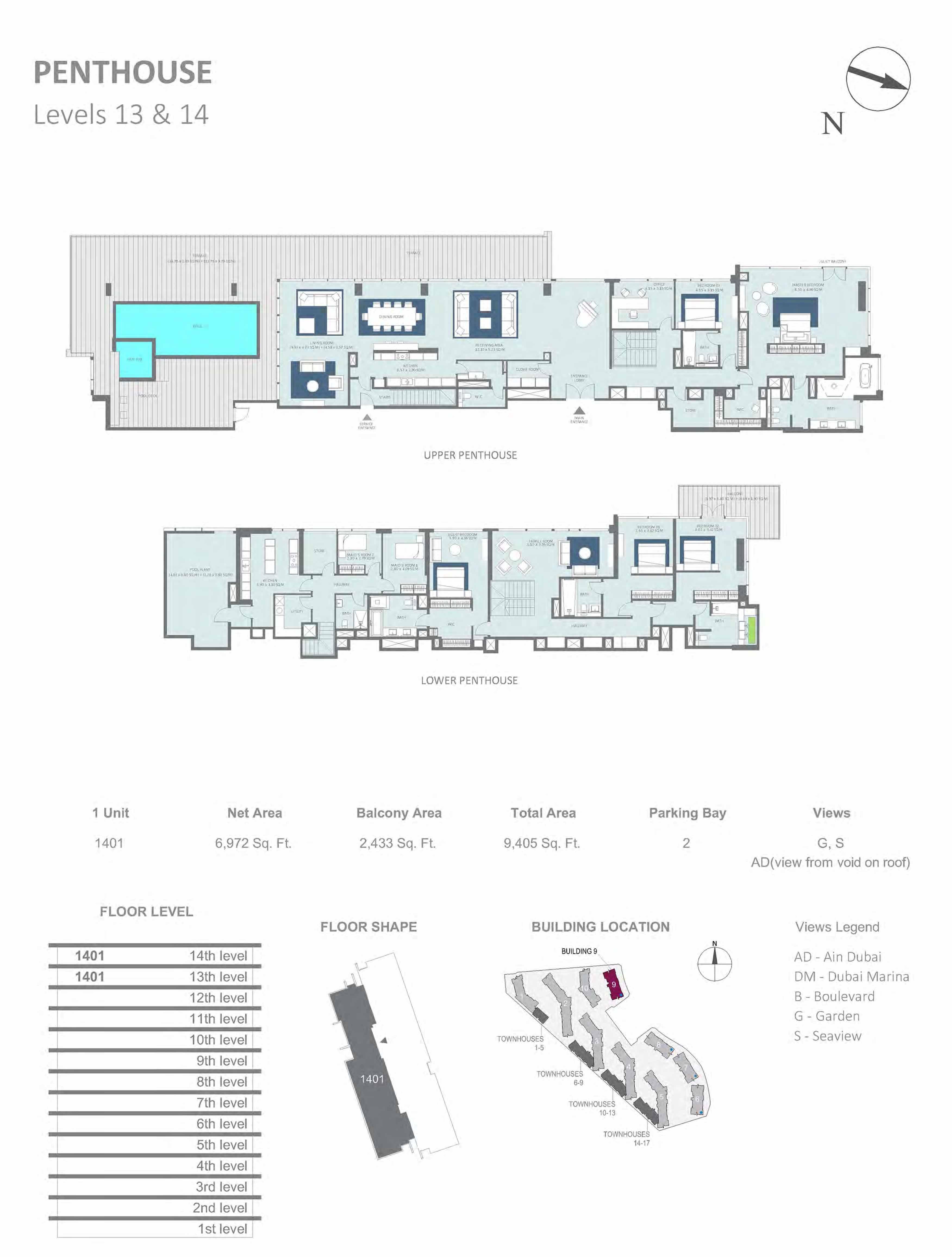 Building 9 - Penthouse, Level 13 & 14 Size 9405  sq. ft.