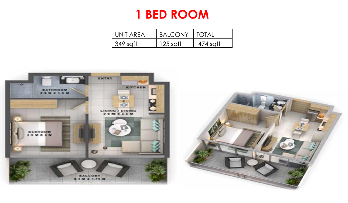 1 Bedroom - Size 474  sq. ft.