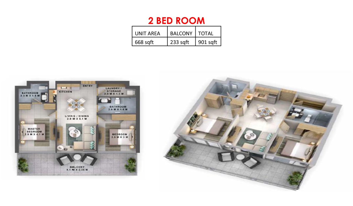2 Bedroom - Size 901  sq. ft.