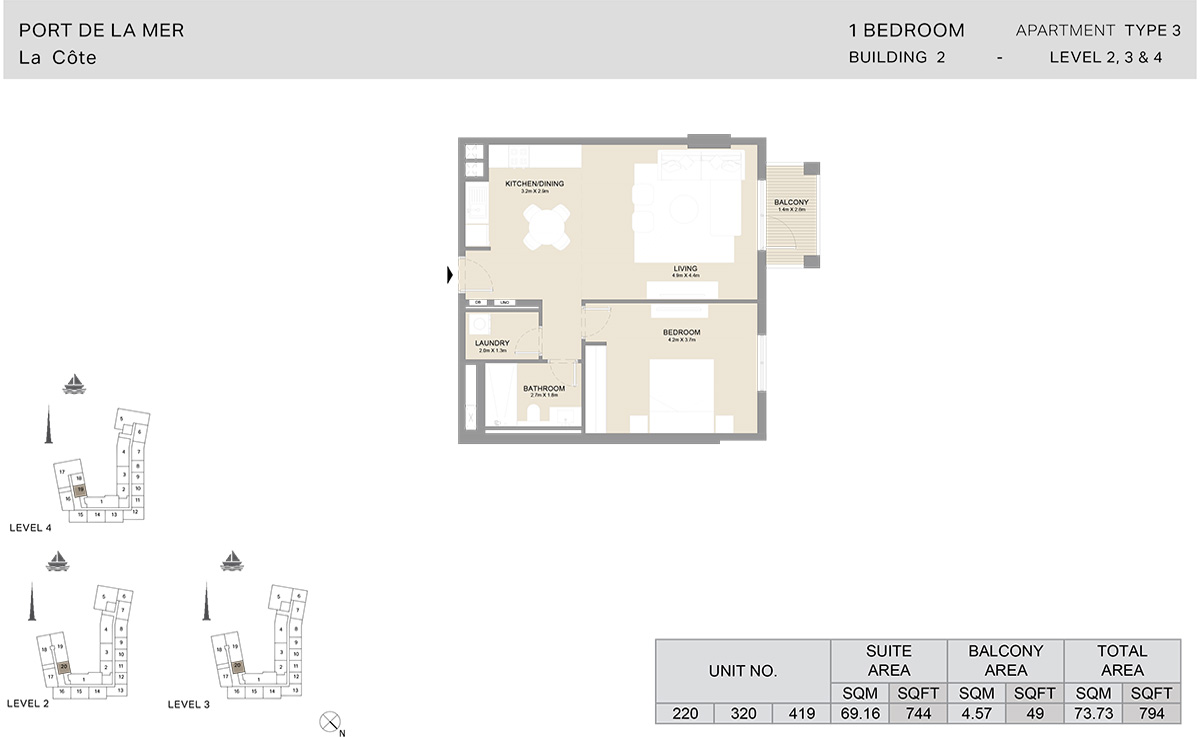 1 Bedroom  Building 2, Type 3, Level 2 to 4, Size 794   sq. ft.