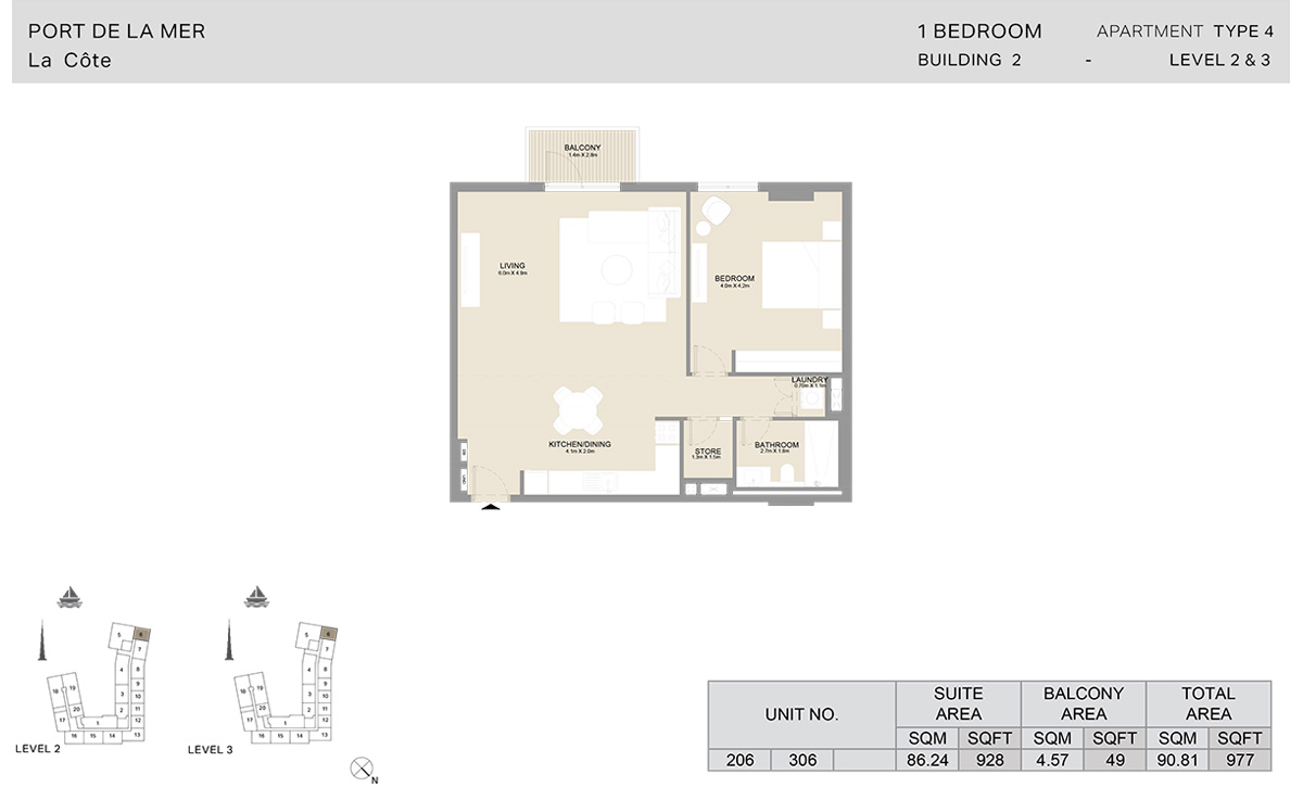 1 Bedroom  Building 2, Type 4, Level 2 to 3, Size 977   sq. ft.