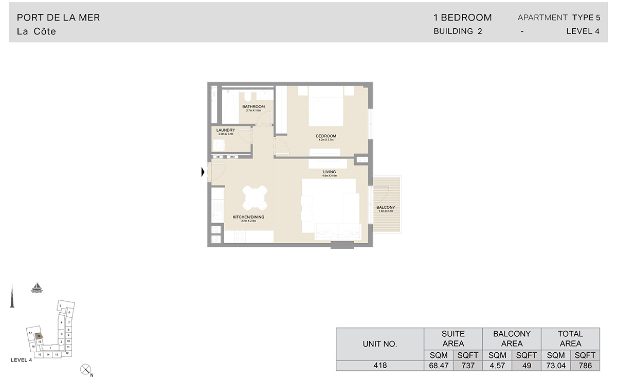 1 Bedroom  Building 2, Type 5, Level 4, Size 786   sq. ft.