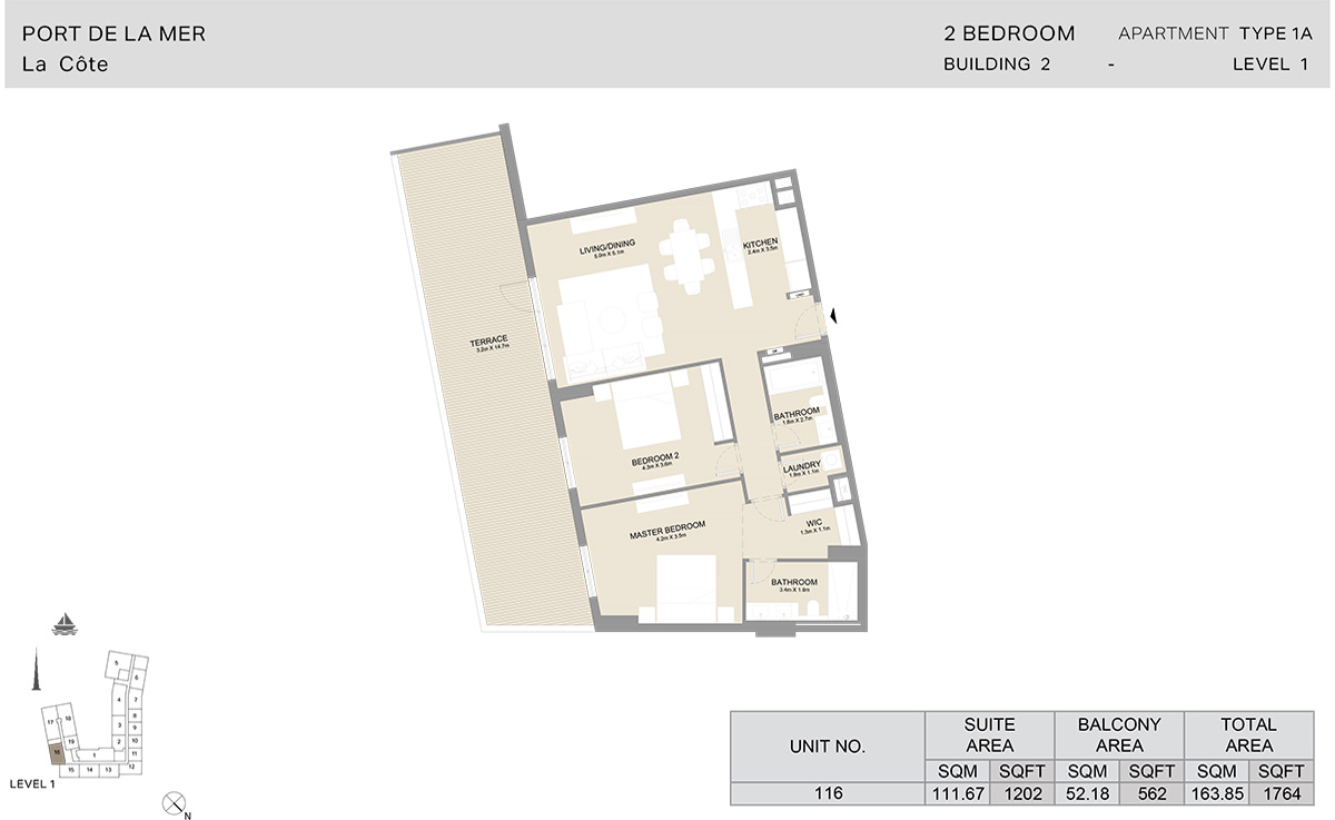 2 Bedroom  Building 2, Type 1A, Level 1, Size 1764   sq. ft.