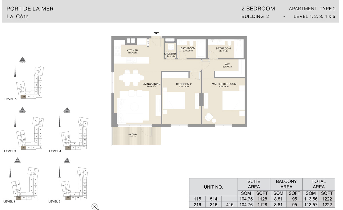 2 Bedroom  Building 2, Type 2, Level 1 to 5, Size 1222   sq. ft.