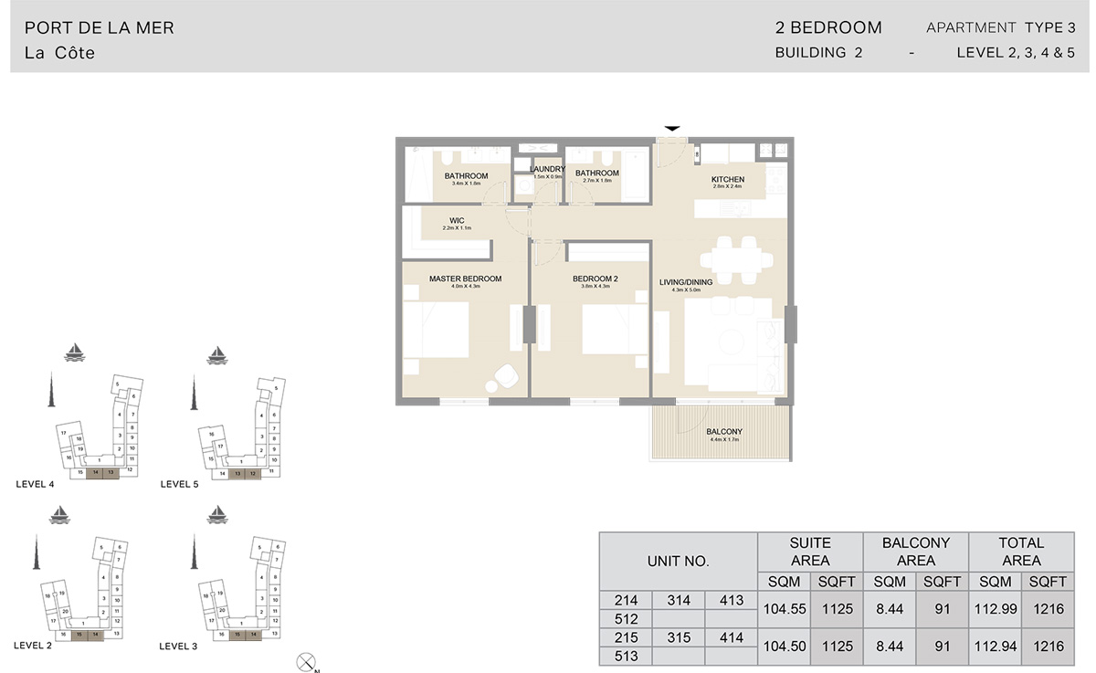2 Bedroom  Building 2, Type 3, Level 2 to 5, Size 1216   sq. ft.