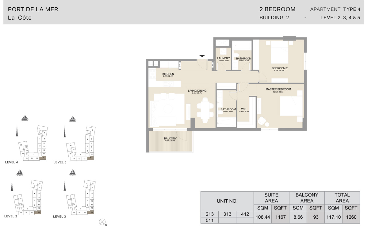 2 Bedroom  Building 2, Type 4, Level 2 to 5, Size 1260   sq. ft.