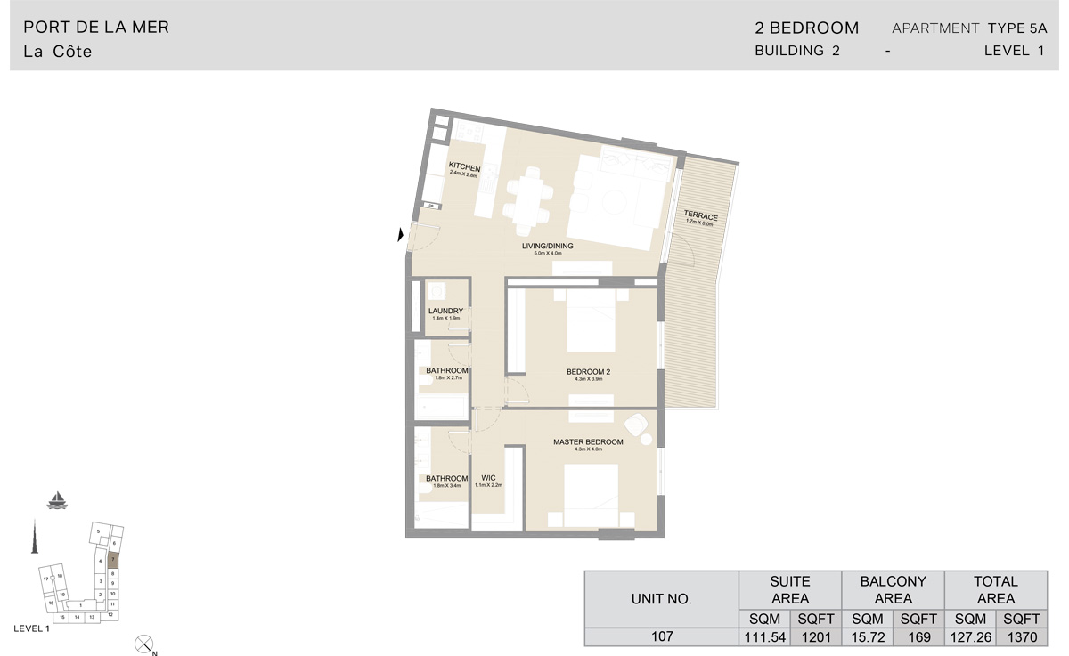 2 Bedroom  Building 2, Type 5A, Level 1, Size 1370   sq. ft.