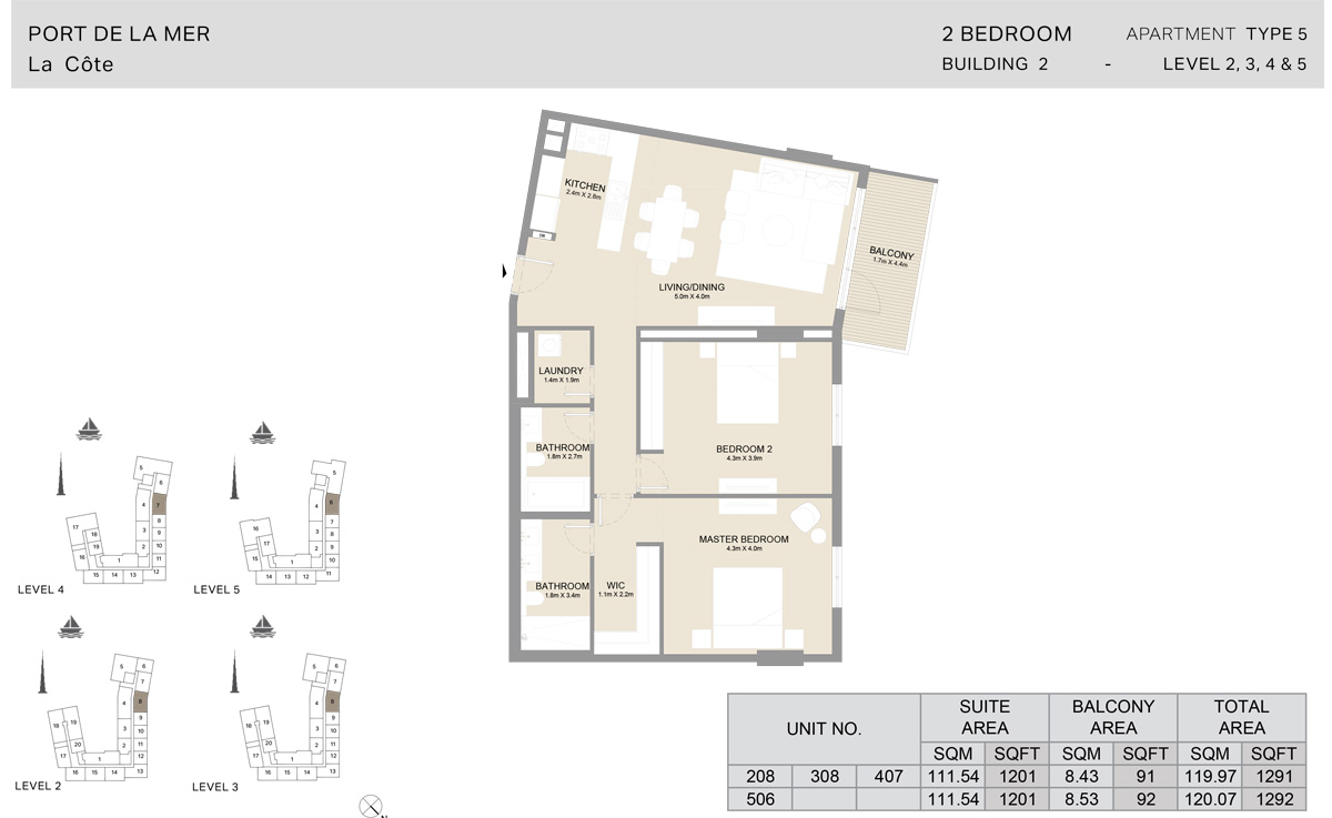 2 Bedroom  Building 2, Type 5, Level 2 to 5, Size 1292   sq. ft.