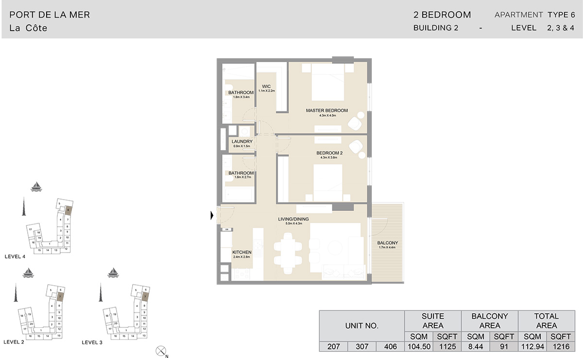 2 Bedroom  Building 2, Type 6, Level 2 to 4, Size 1216   sq. ft.