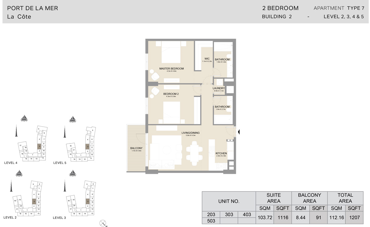 2 Bedroom  Building 2, Type 7, Level 2 to 5, Size 1207   sq. ft.