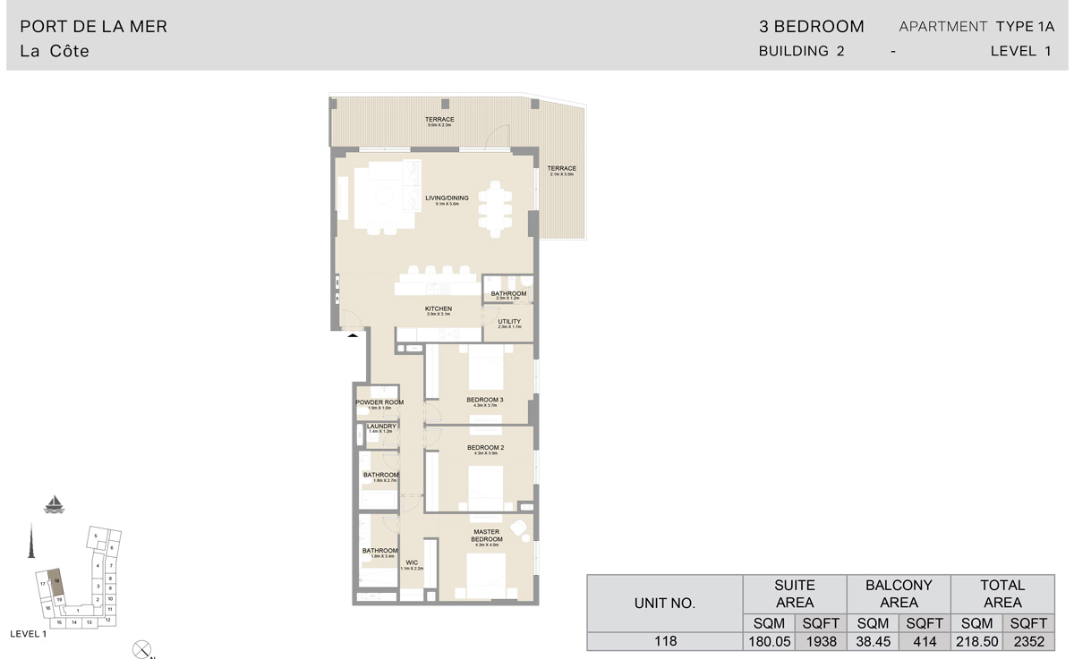 3 Bedroom  Building 2, Type 1 A, Level 1, Size 2352   sq. ft.