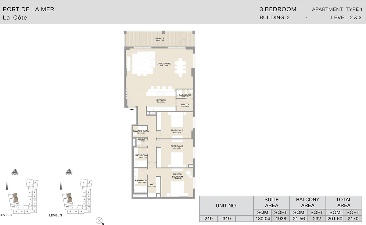 3 Bedroom  Building 2, Type 1, Level 2 to 3, Size 2170   sq. ft.