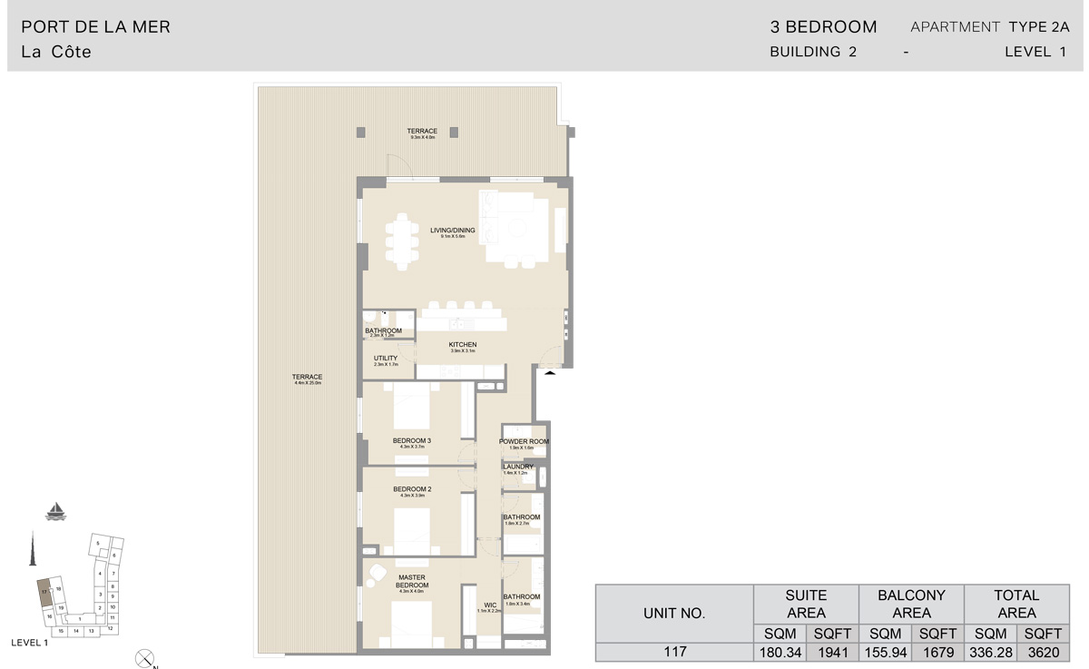 3 Bedroom  Building 2, Type 2 A, Level 1, Size 3620   sq. ft.