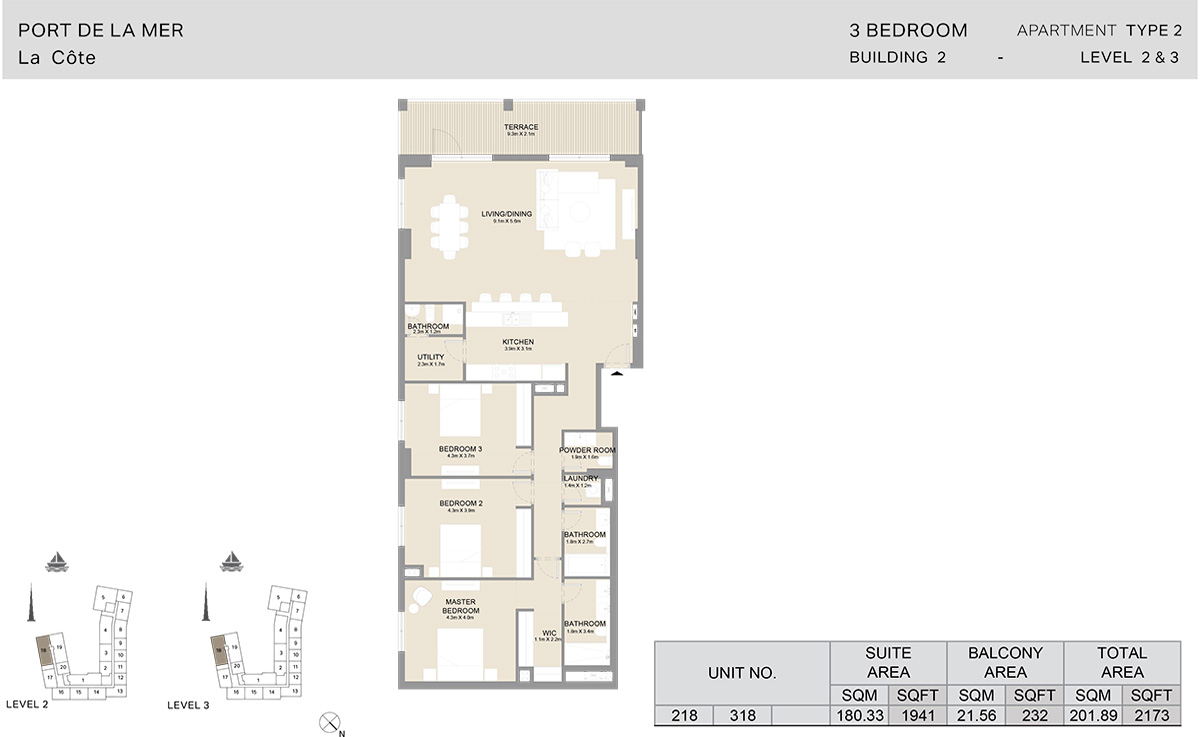 3 Bedroom  Building 2, Type 2, Level 2 to 3, Size 2173   sq. ft.