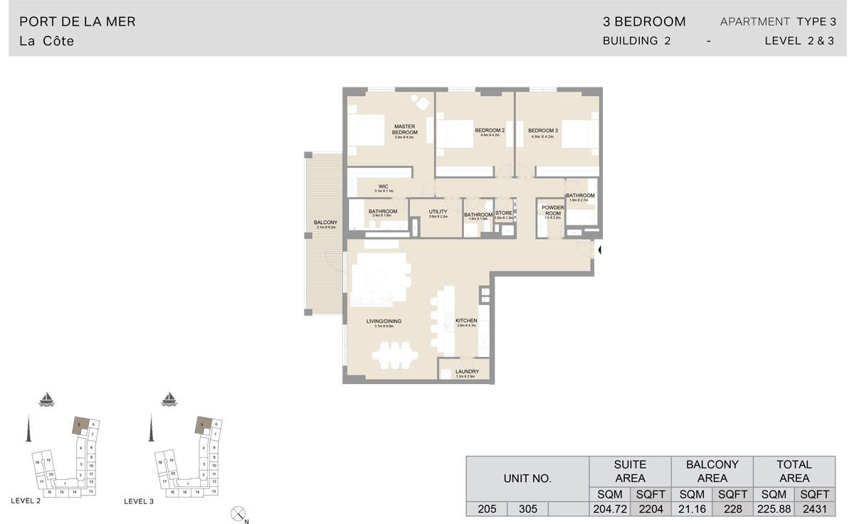 3 Bedroom  Building 2, Type 3, Level 2 to 3, Size 2431   sq. ft.