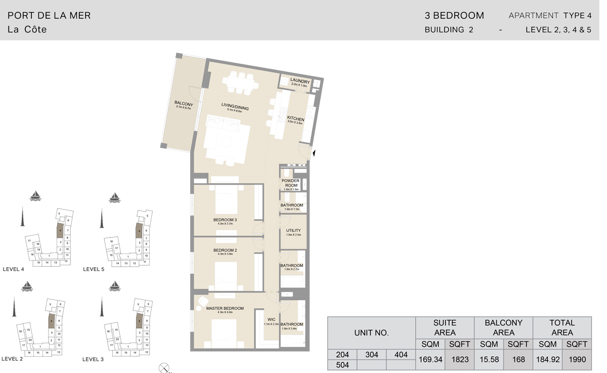 3 Bedroom  Building 2, Type 4, Level 2 to 5, Size 1990   sq. ft.