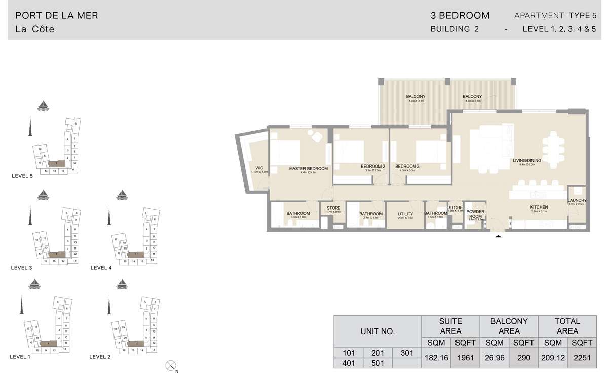 3 Bedroom  Building 2, Type 5, Level 1 to 5, Size 2251   sq. ft.