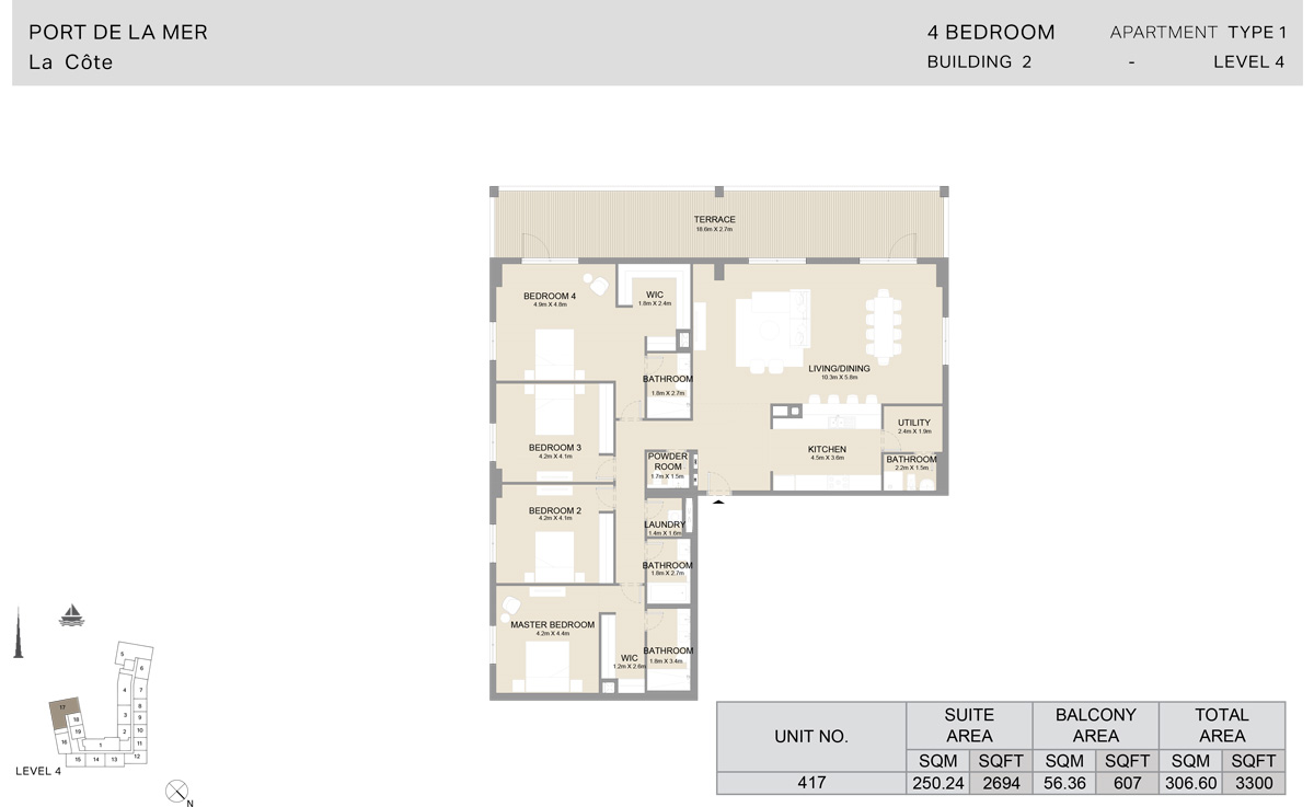 4 Bedroom  Building 2, Type 1, Level 4, Size 3300   sq. ft.