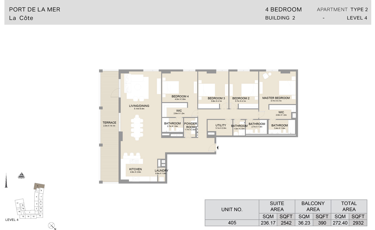4 Bedroom  Building 2, Type 2, Level 4, Size 2932   sq. ft.